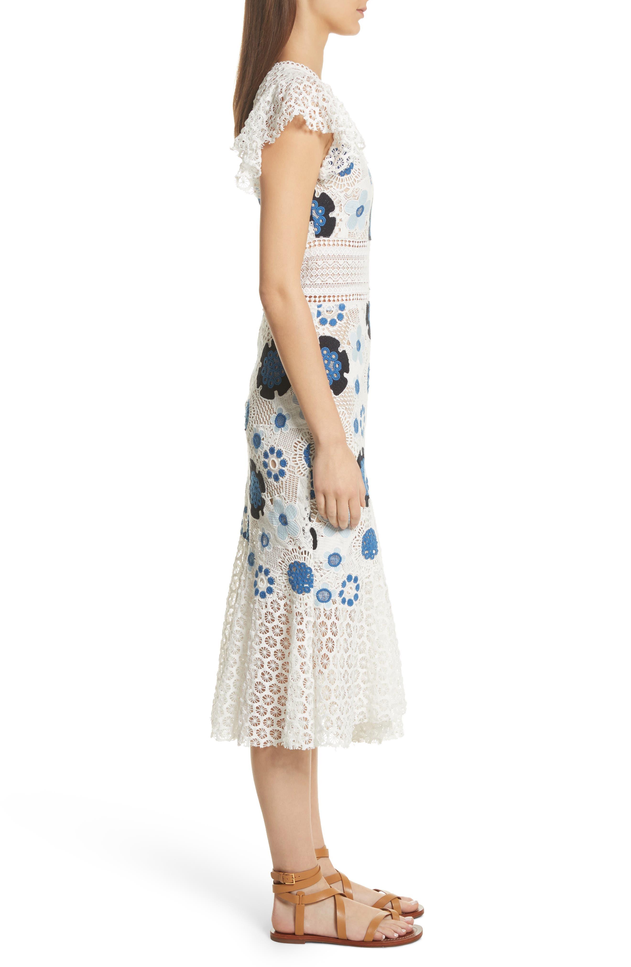 Figgy Crochet Dress,                             Alternate thumbnail 3, color,                             Cream/ Blue Multi
