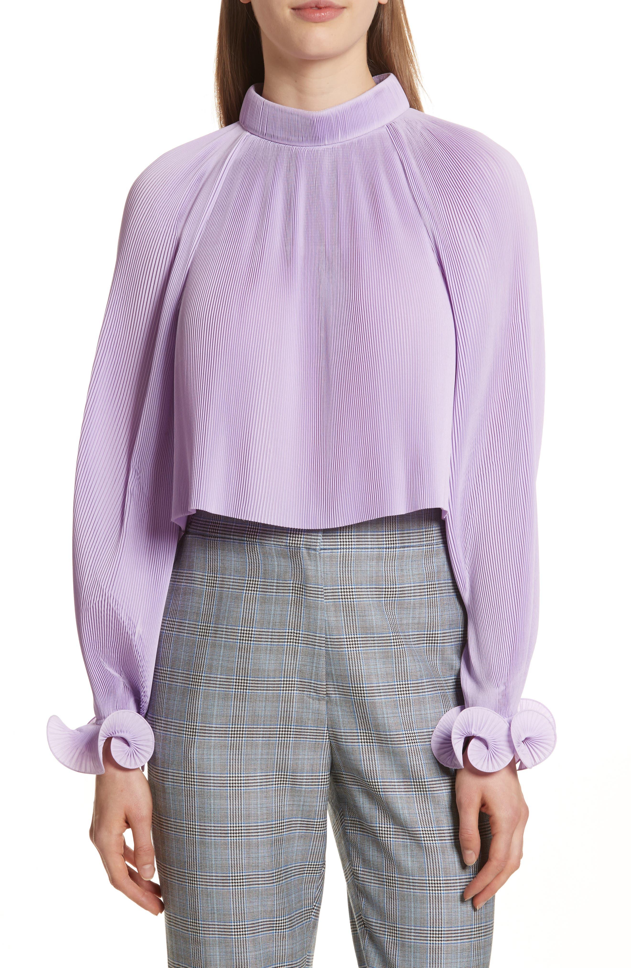 Pleated Crop Top,                         Main,                         color, Lavender