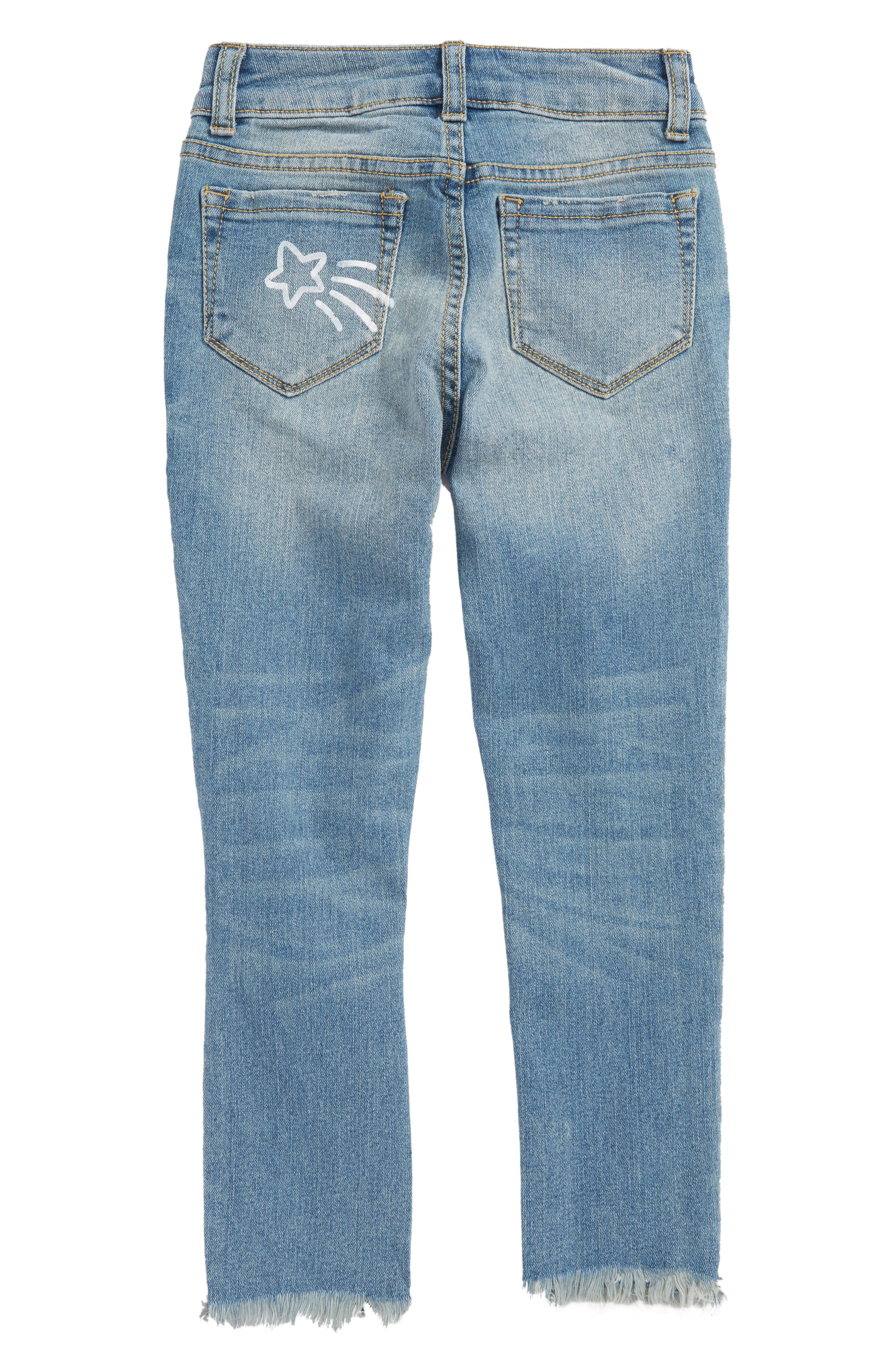 Conversational Distressed Skinny Jeans,                             Alternate thumbnail 2, color,                             Blur Wash