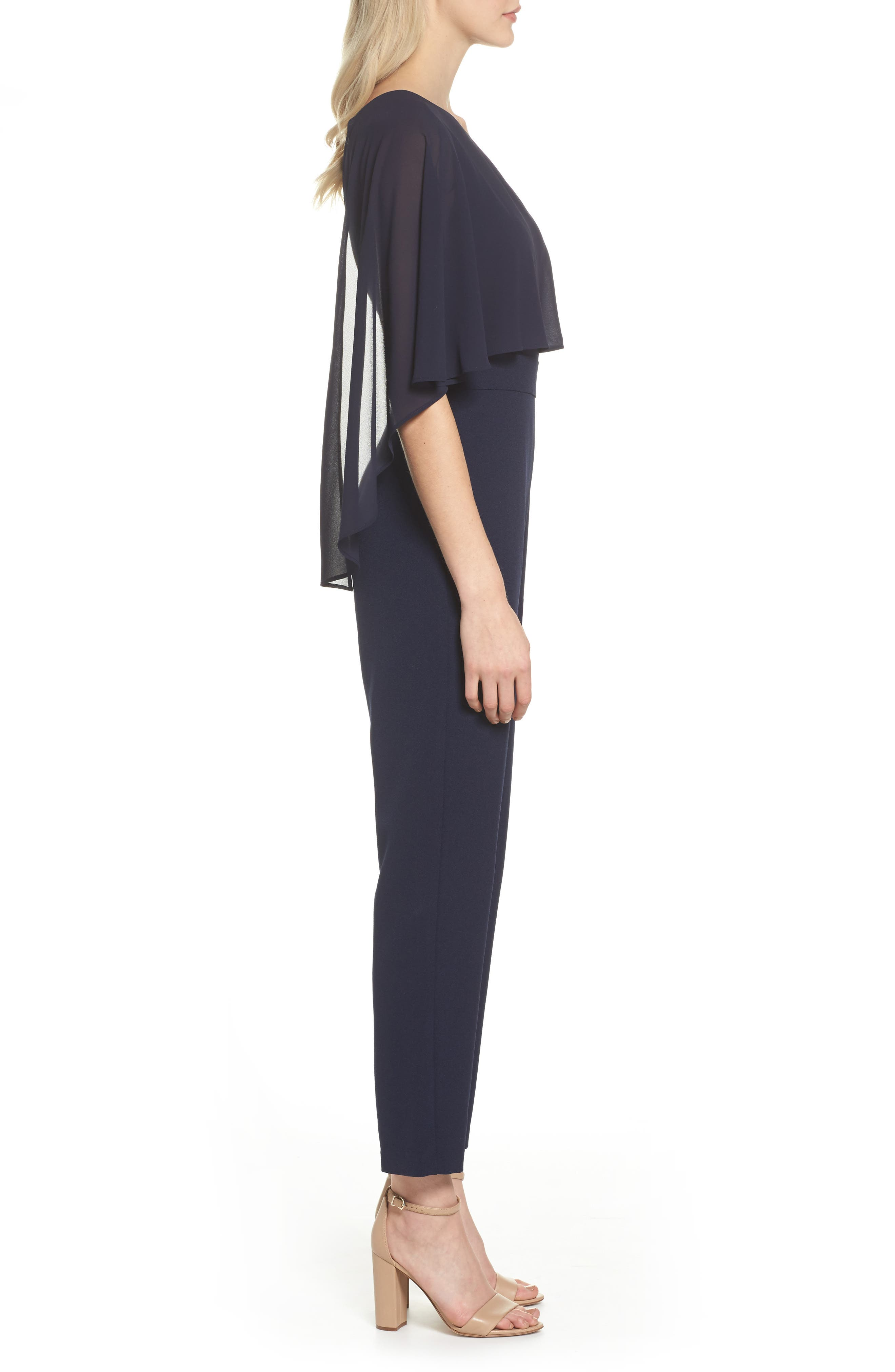 Cape Overlay One-Shoulder Jumpsuit,                             Alternate thumbnail 3, color,                             Navy