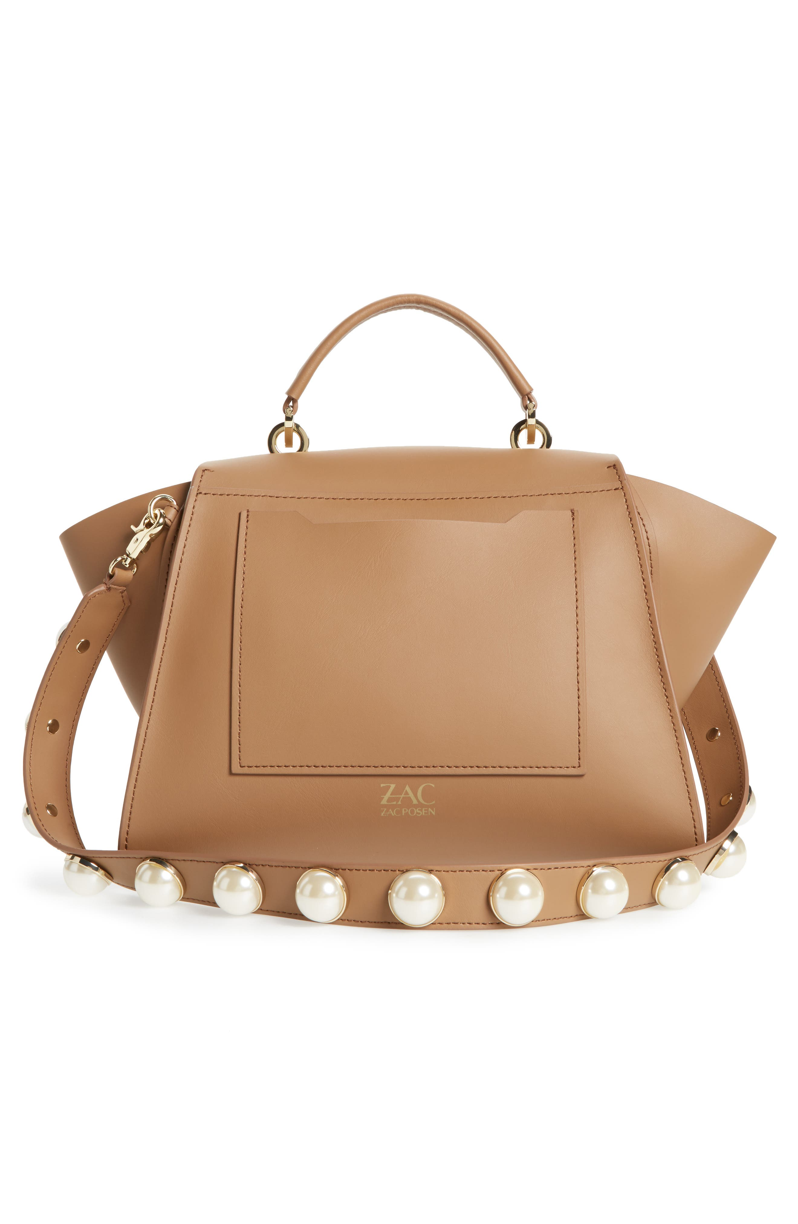 Eartha Iconic Leather Top Handle Satchel,                             Alternate thumbnail 3, color,                             Nude