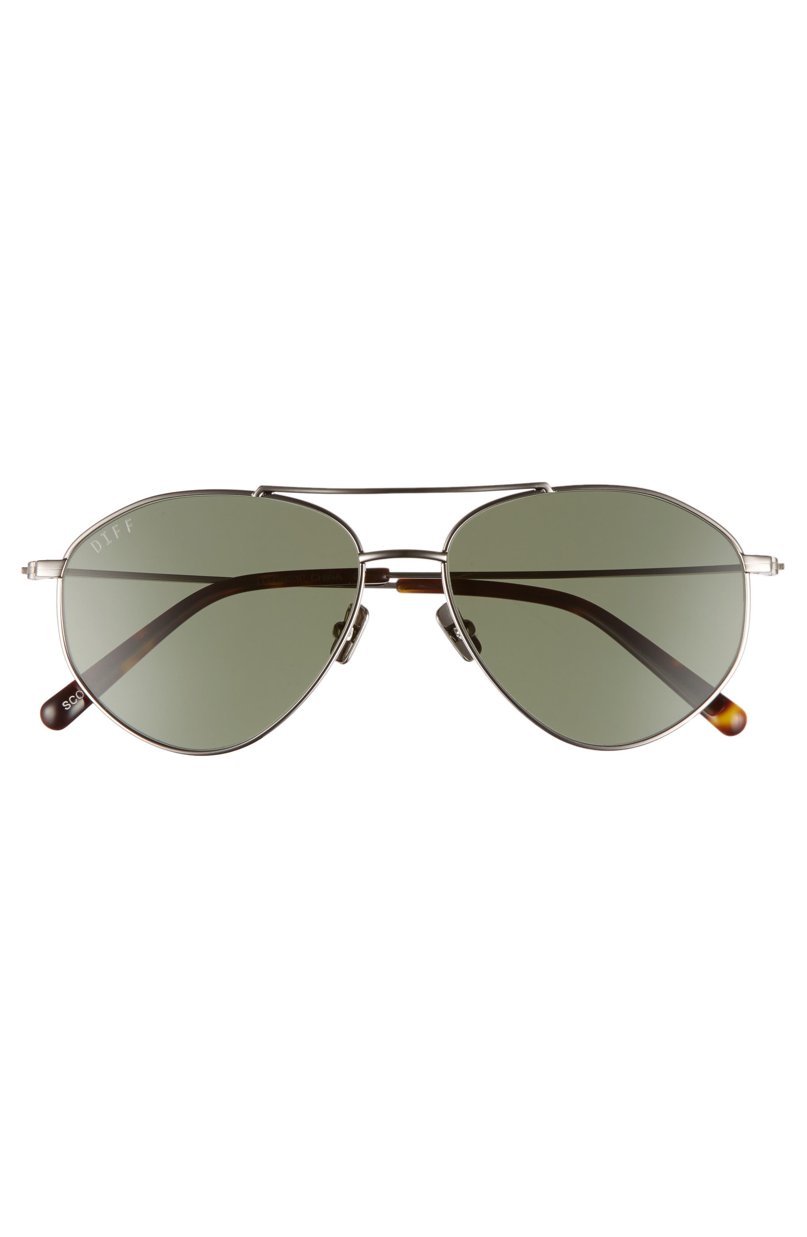Scout 53mm Aviator Sunglasses,                             Alternate thumbnail 3, color,                             Light Gunmetal/ Green