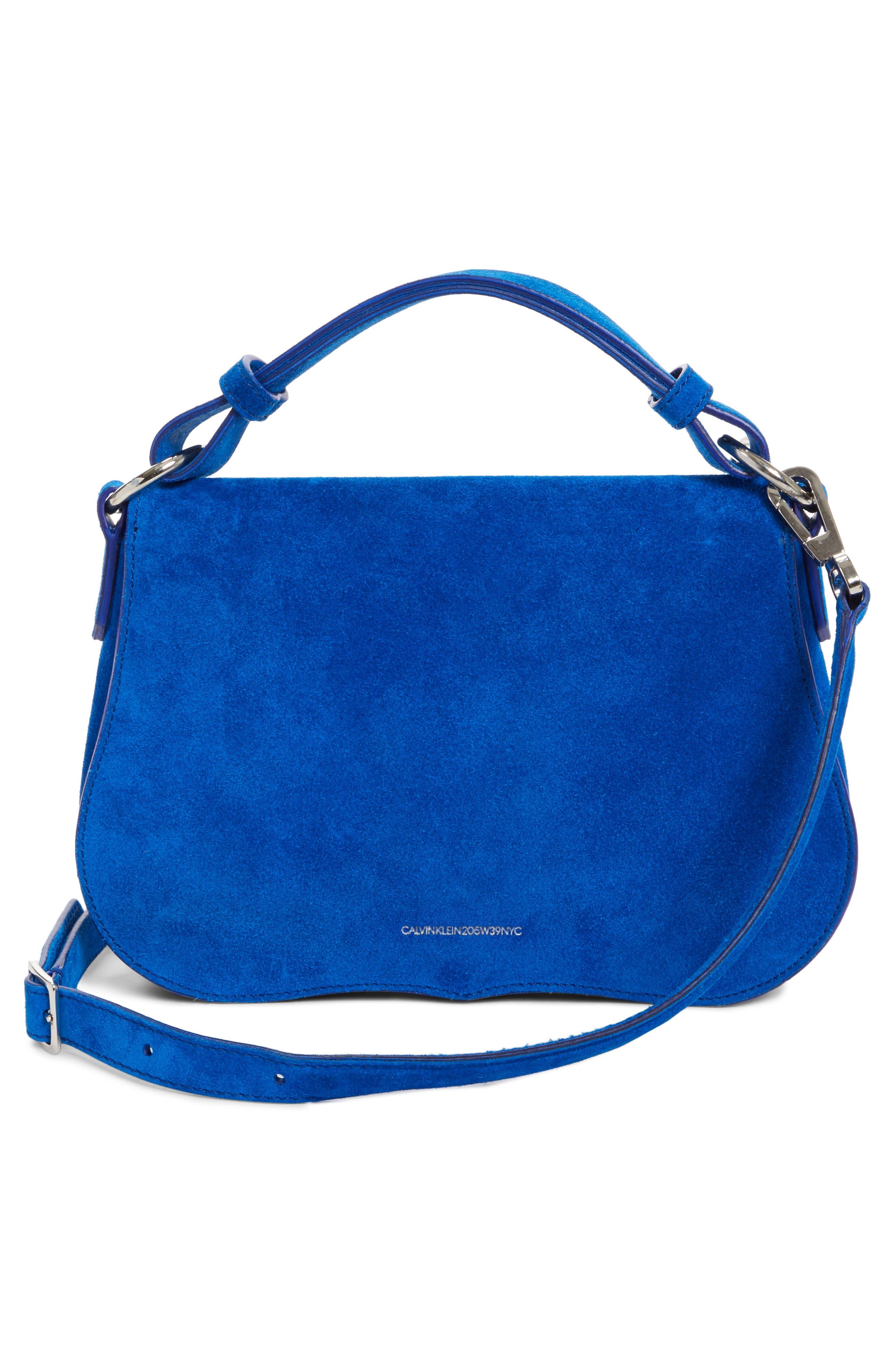 Small Suede Shoulder Bag,                             Alternate thumbnail 3, color,                             Lapis