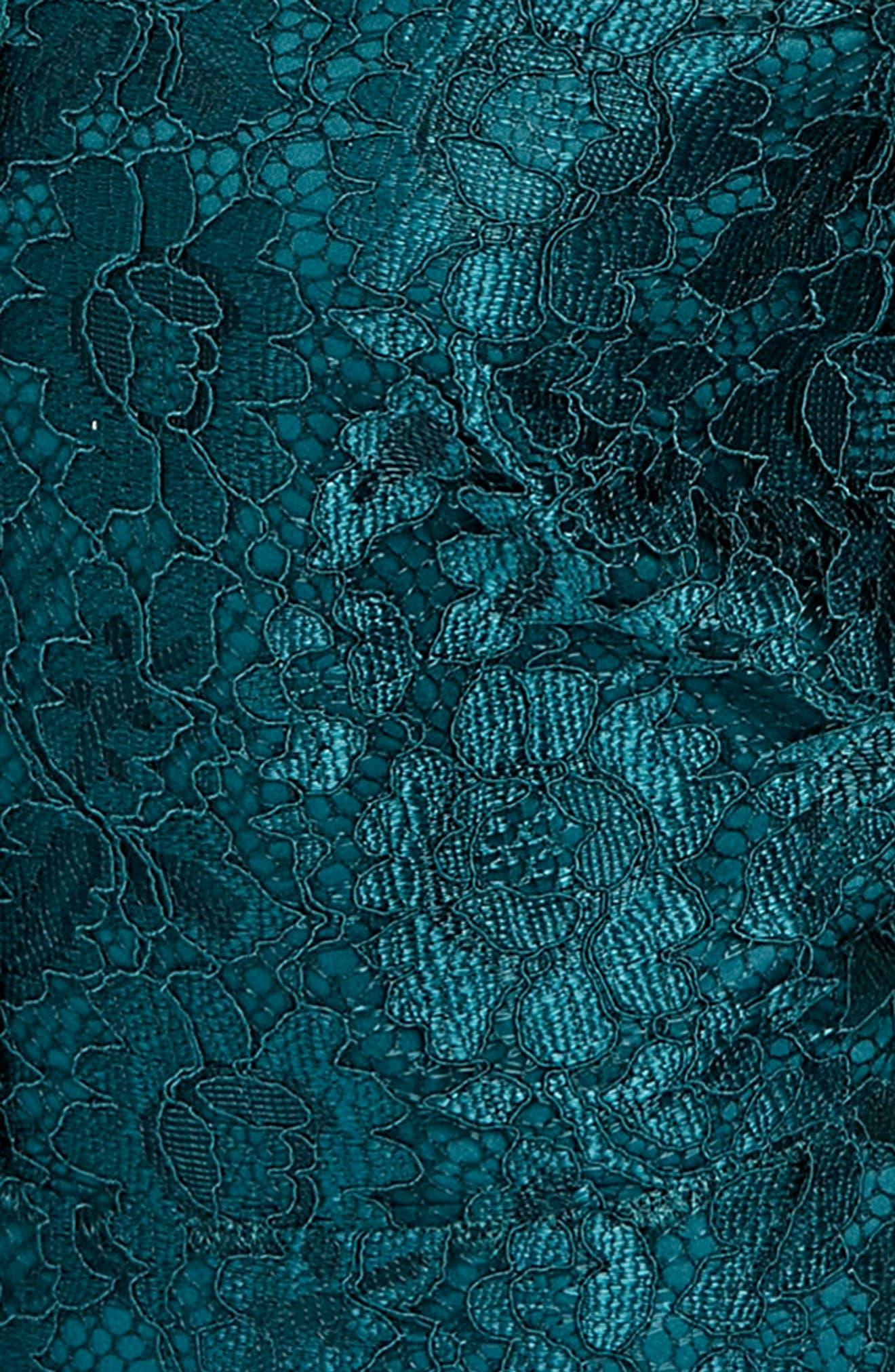 Lace & Lattice Fit & Flare Dress,                             Alternate thumbnail 3, color,                             Teal