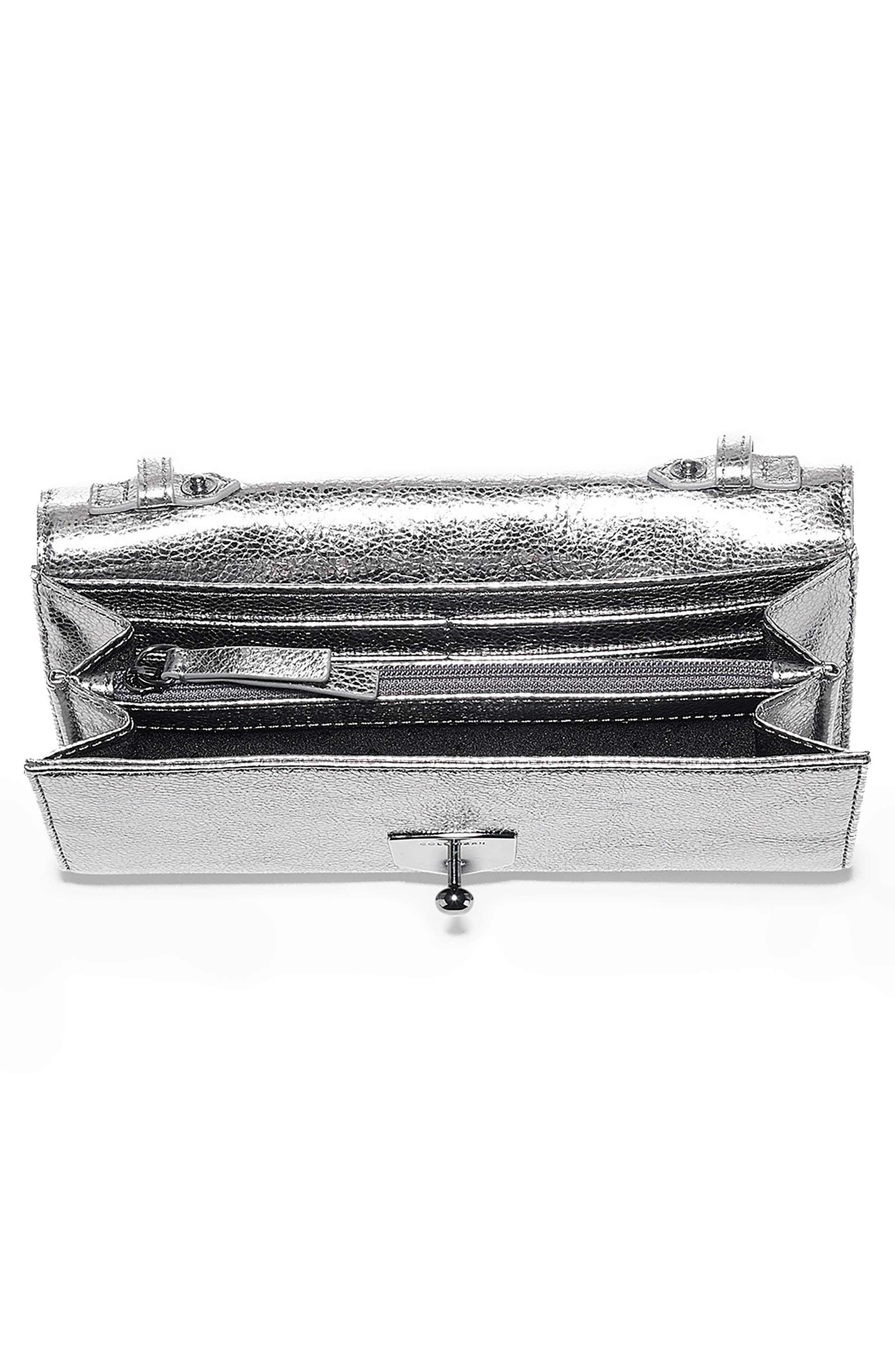 Marli Studded Metallic Leather Convertible Smartphone Clutch,                             Alternate thumbnail 3, color,                             Anthracite