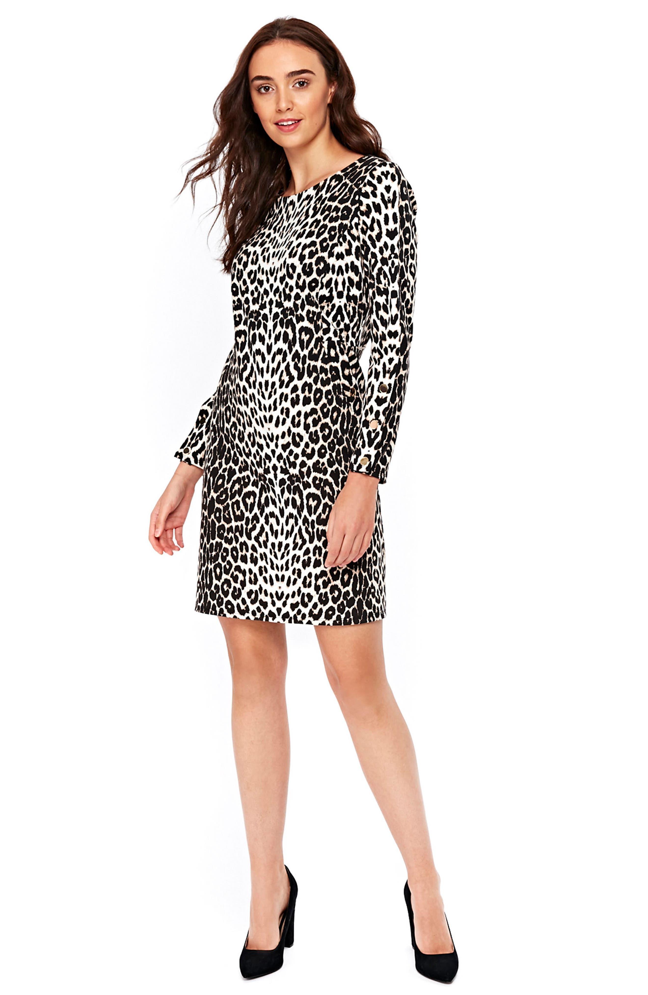 Leopard Ponte Dress,                             Alternate thumbnail 3, color,                             Multi