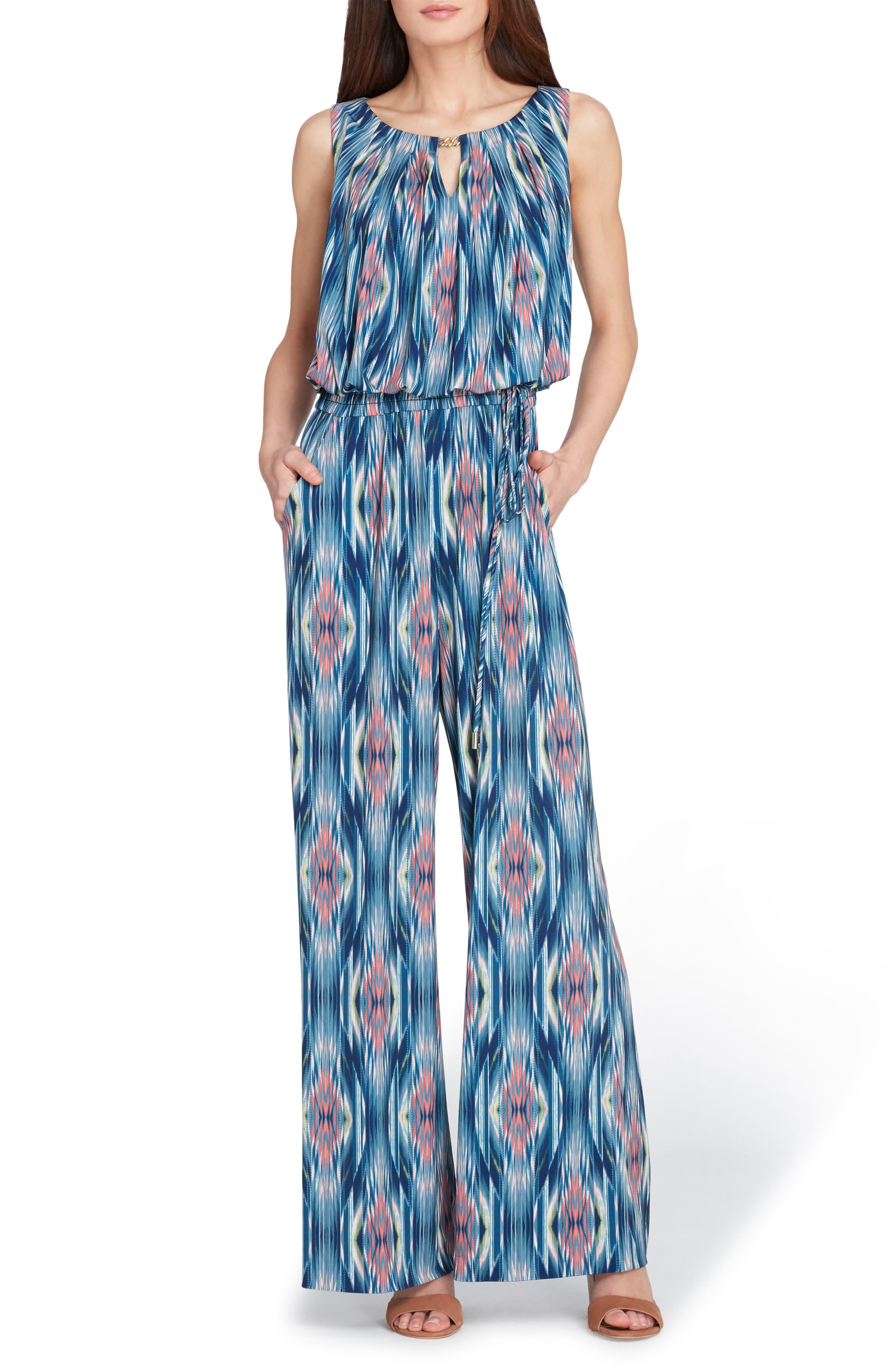 Printed Matte Jersey Jumpsuit,                             Main thumbnail 1, color,                             Navy/ Denim/ Coral