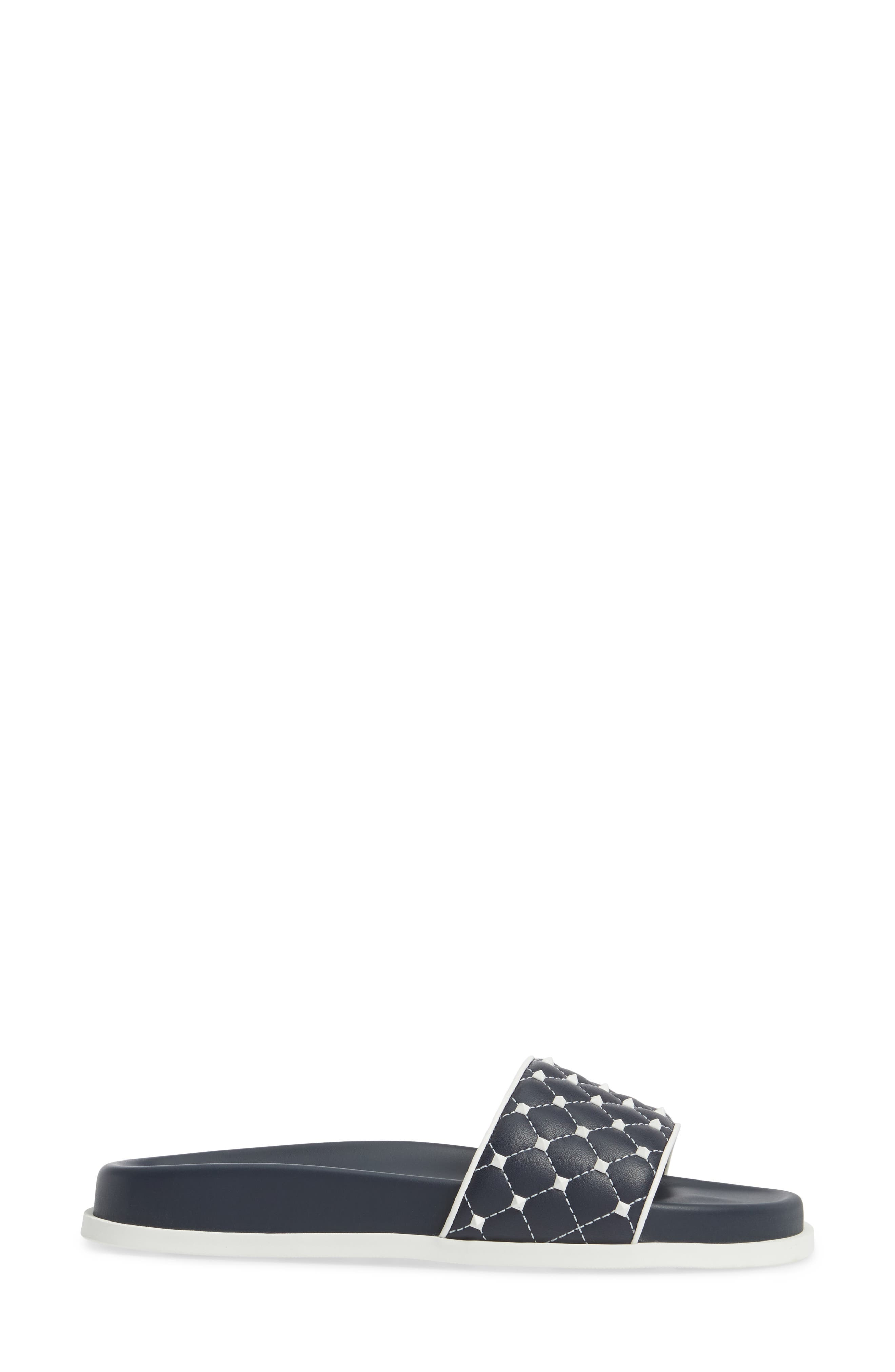 Free Rockstud Slide Sandal,                             Alternate thumbnail 3, color,                             Marine/ White