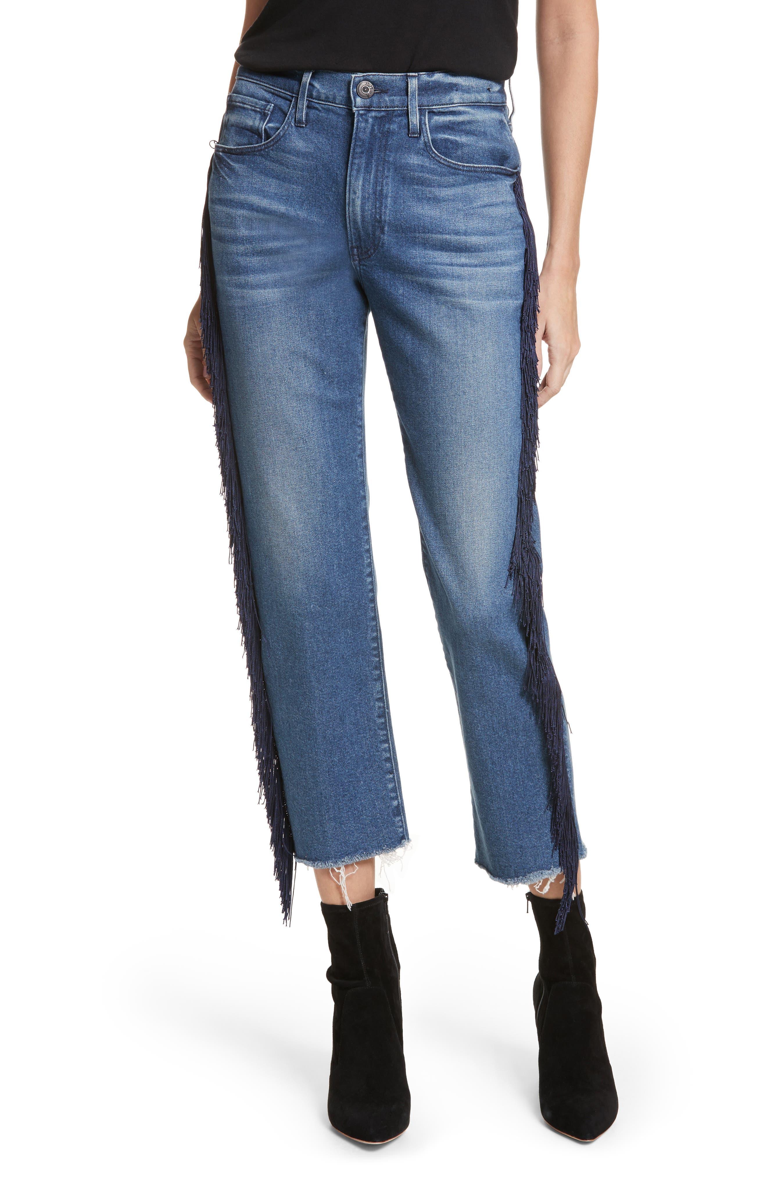 W3 Higher Ground Fringe Crop Straight Leg Jeans,                         Main,                         color, Spanish Fringe