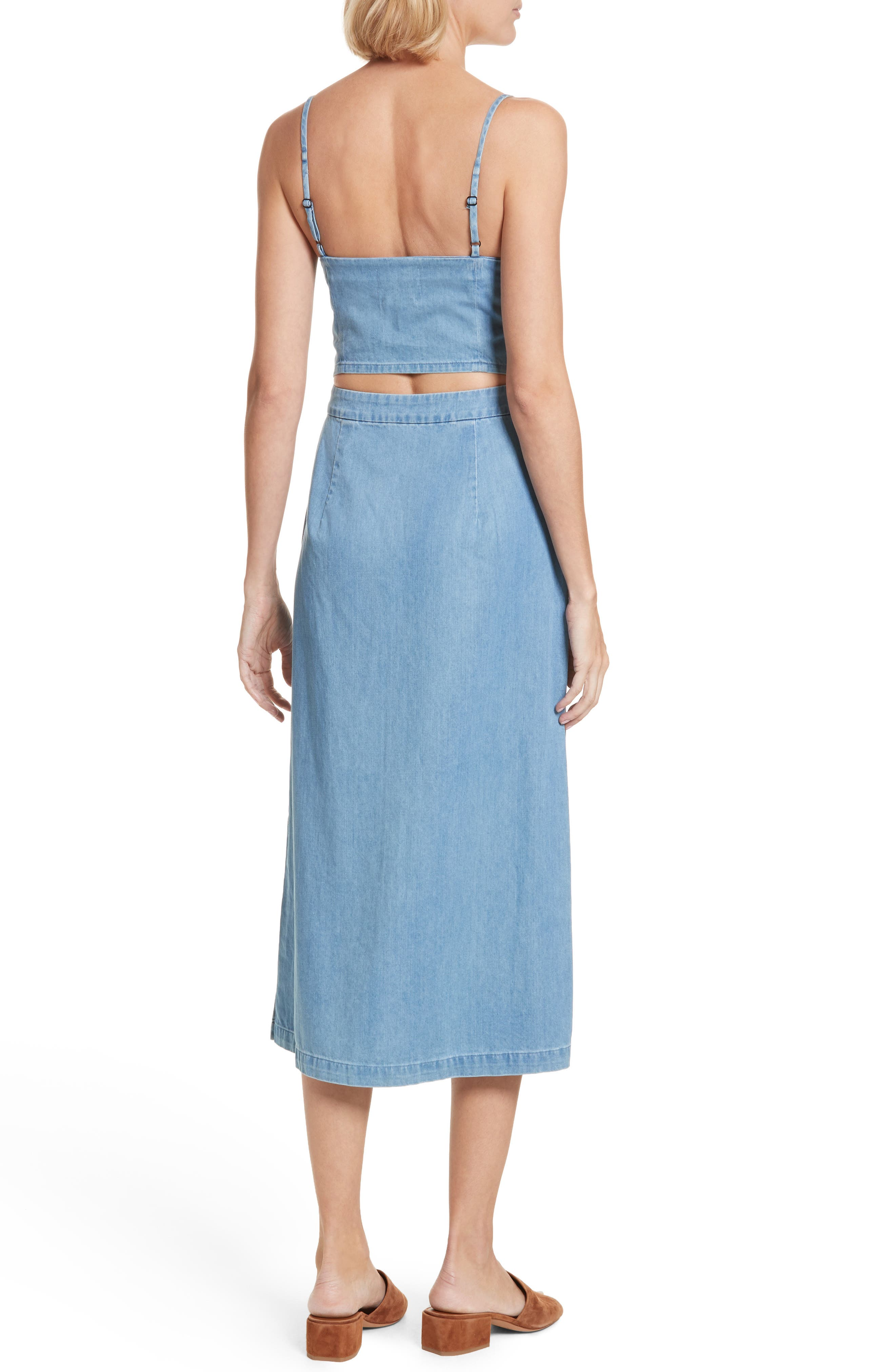 Peekaboo Chambray Midi Dress,                             Alternate thumbnail 2, color,                             Augustine