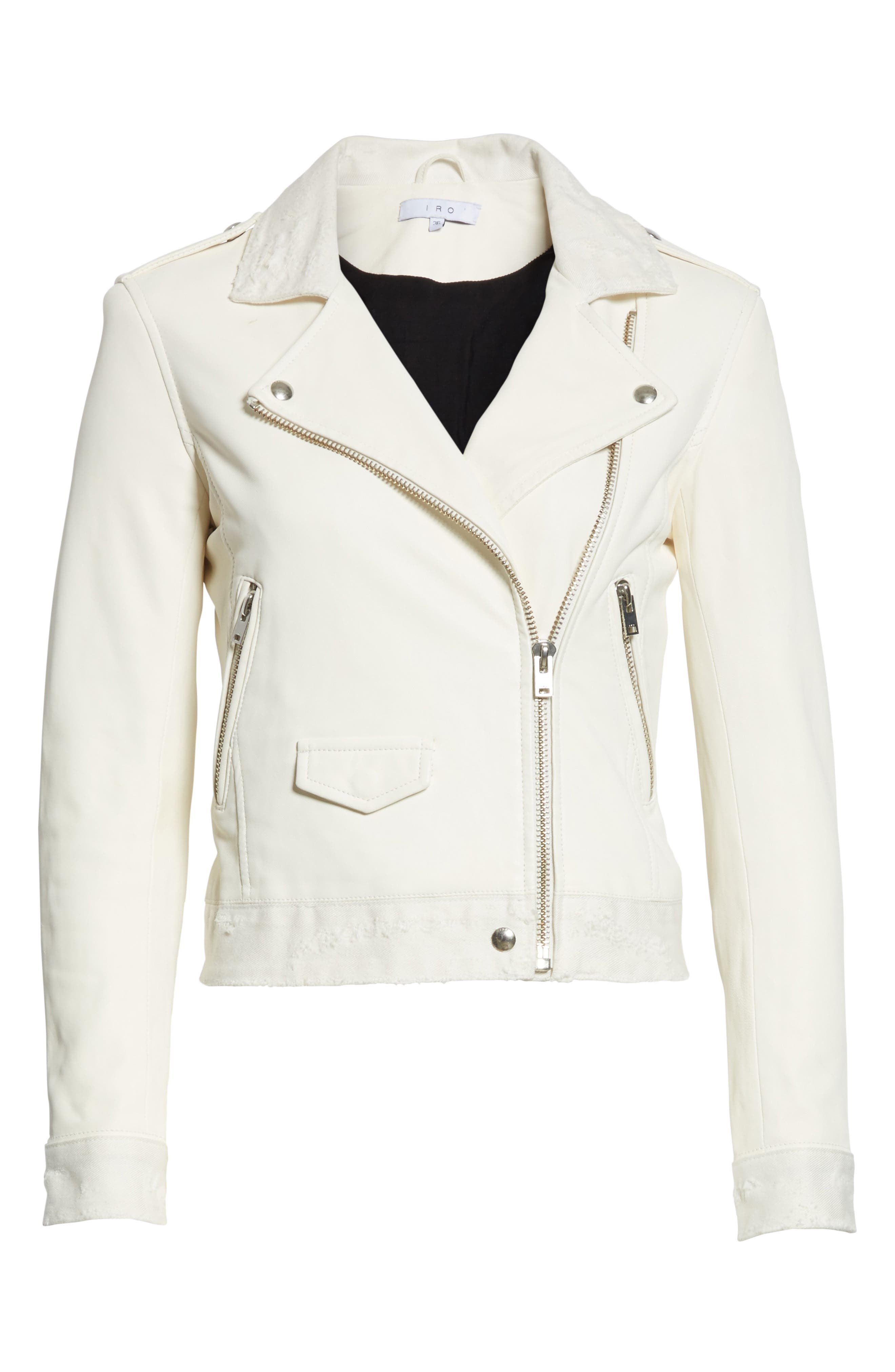 Alternate Image 6  - IRO Maldone Denim Trim Leather Moto Jacket