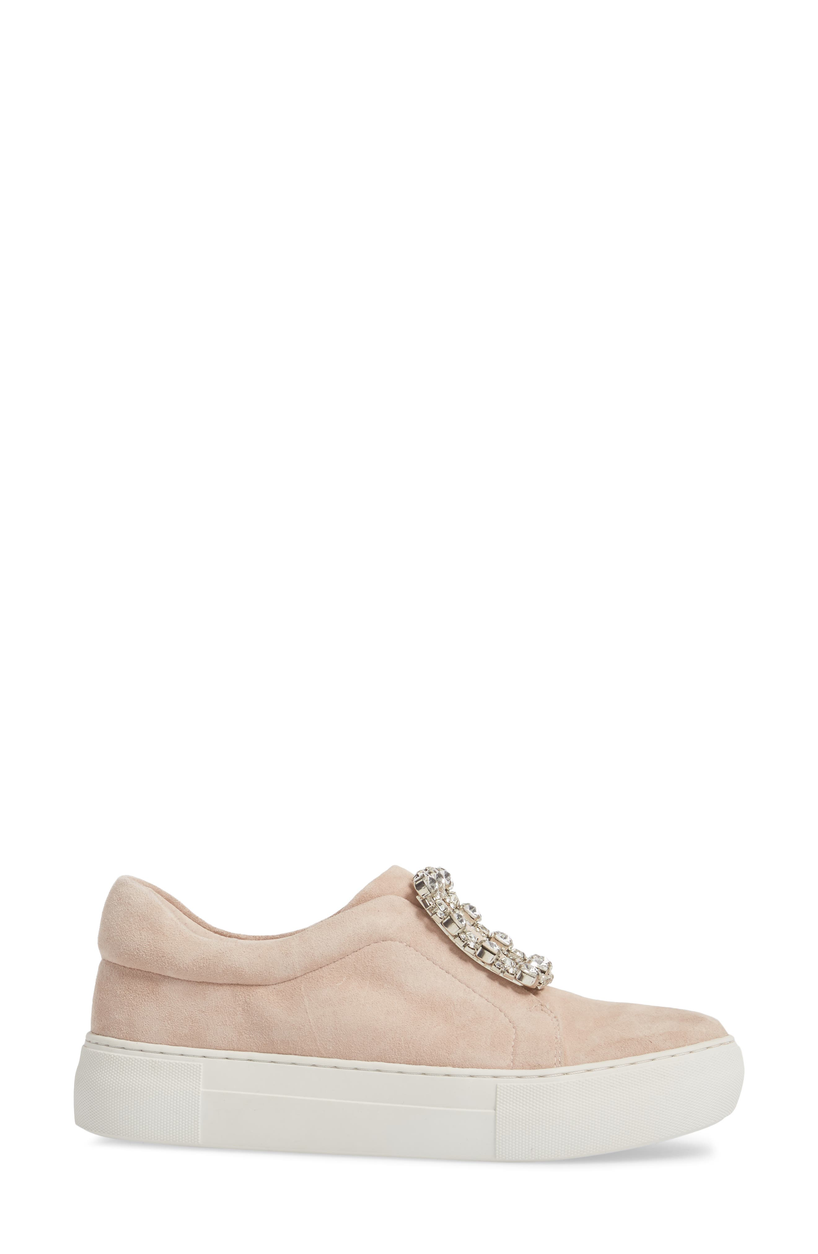 Abode Embellished Buckle Platform Sneaker,                             Alternate thumbnail 3, color,                             Nude Suede