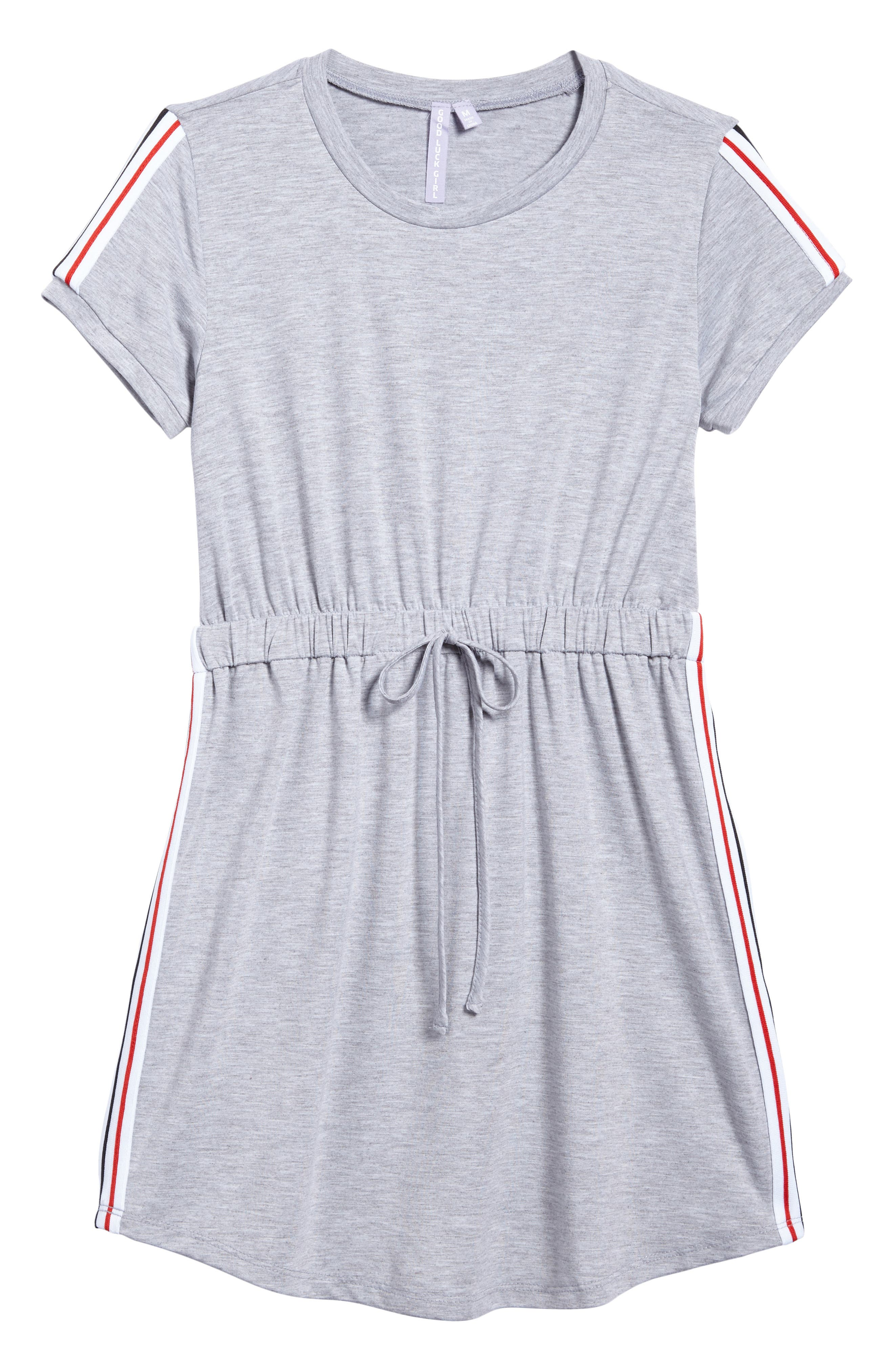 Sporty T-Shirt Dress,                             Main thumbnail 1, color,                             Heather Grey