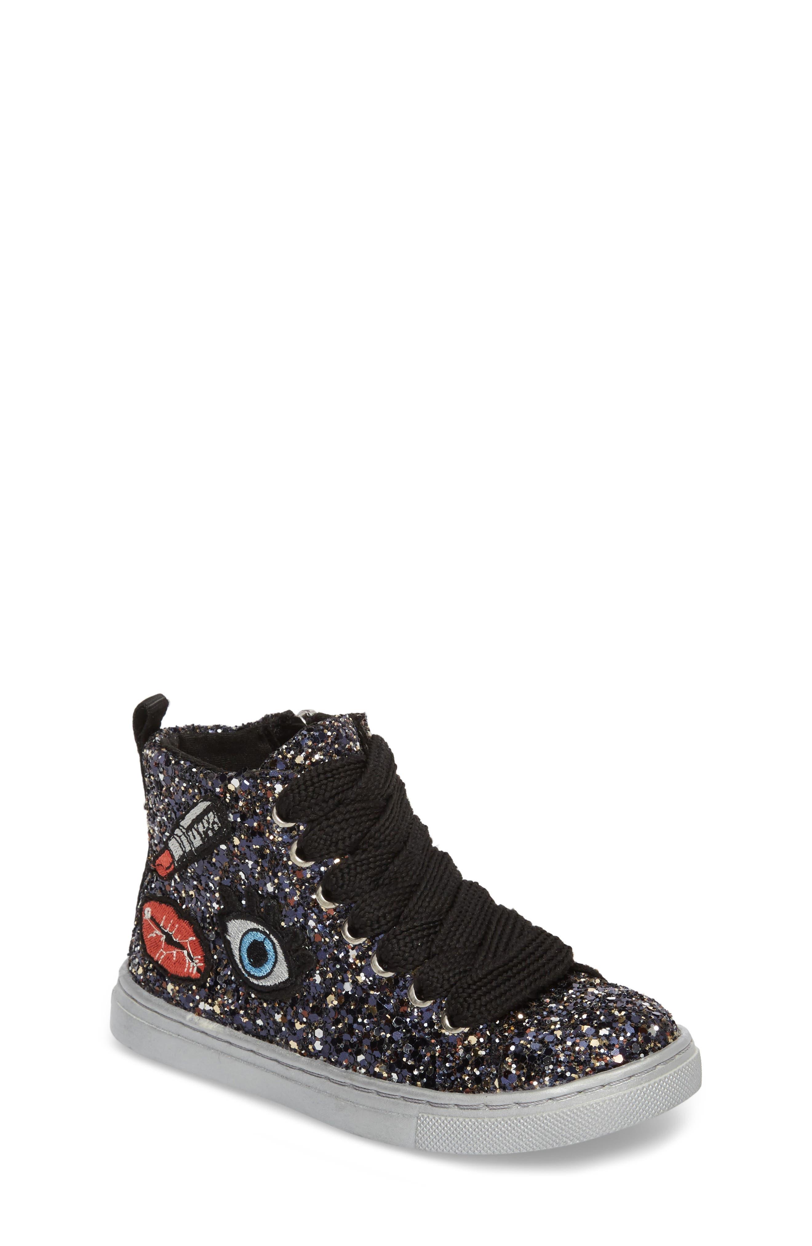 Zaine Glittery High Top Sneaker,                             Main thumbnail 1, color,                             Black Multi Glitter