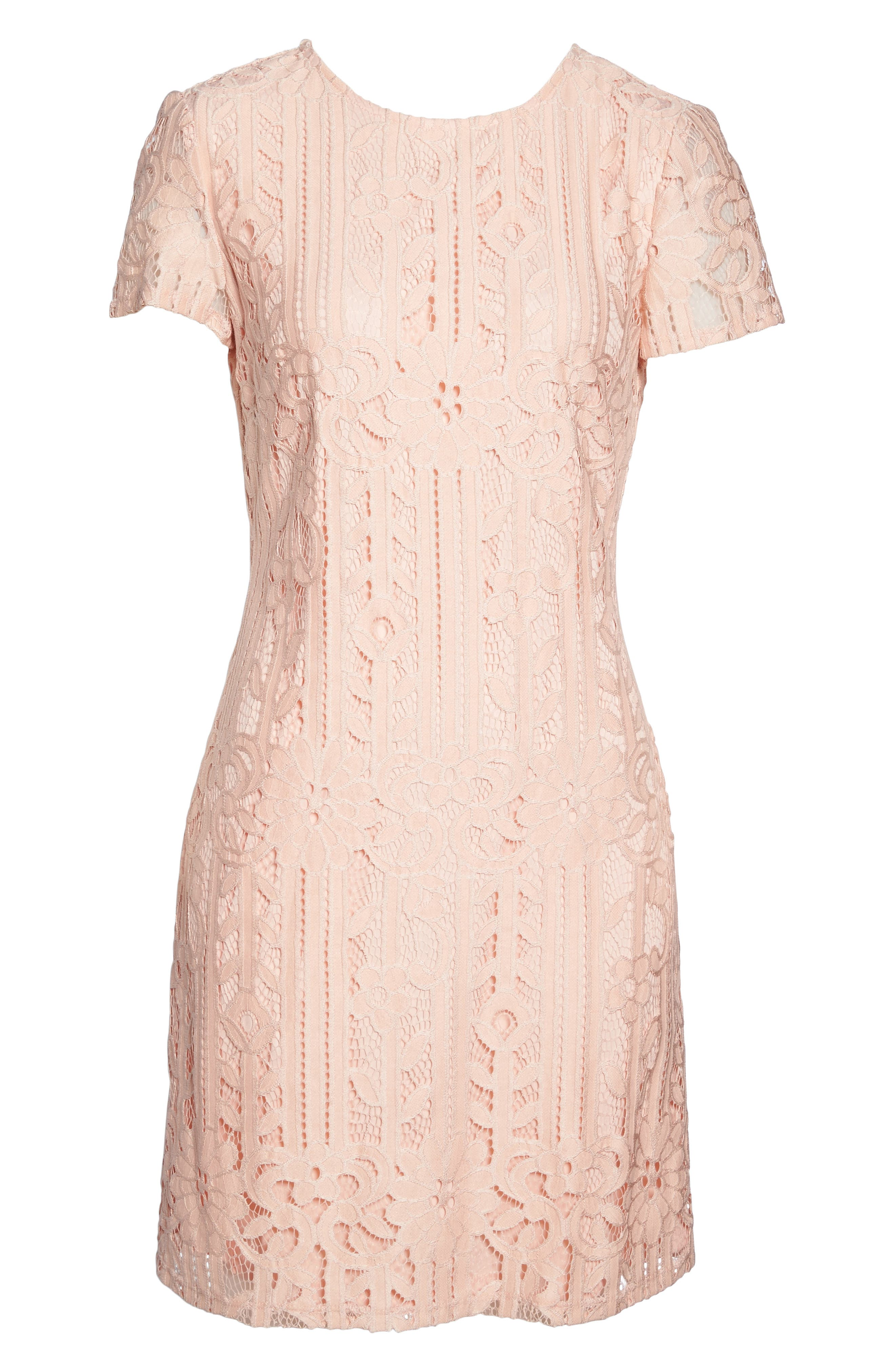 Lace Sheath Dress,                             Alternate thumbnail 6, color,                             Blush