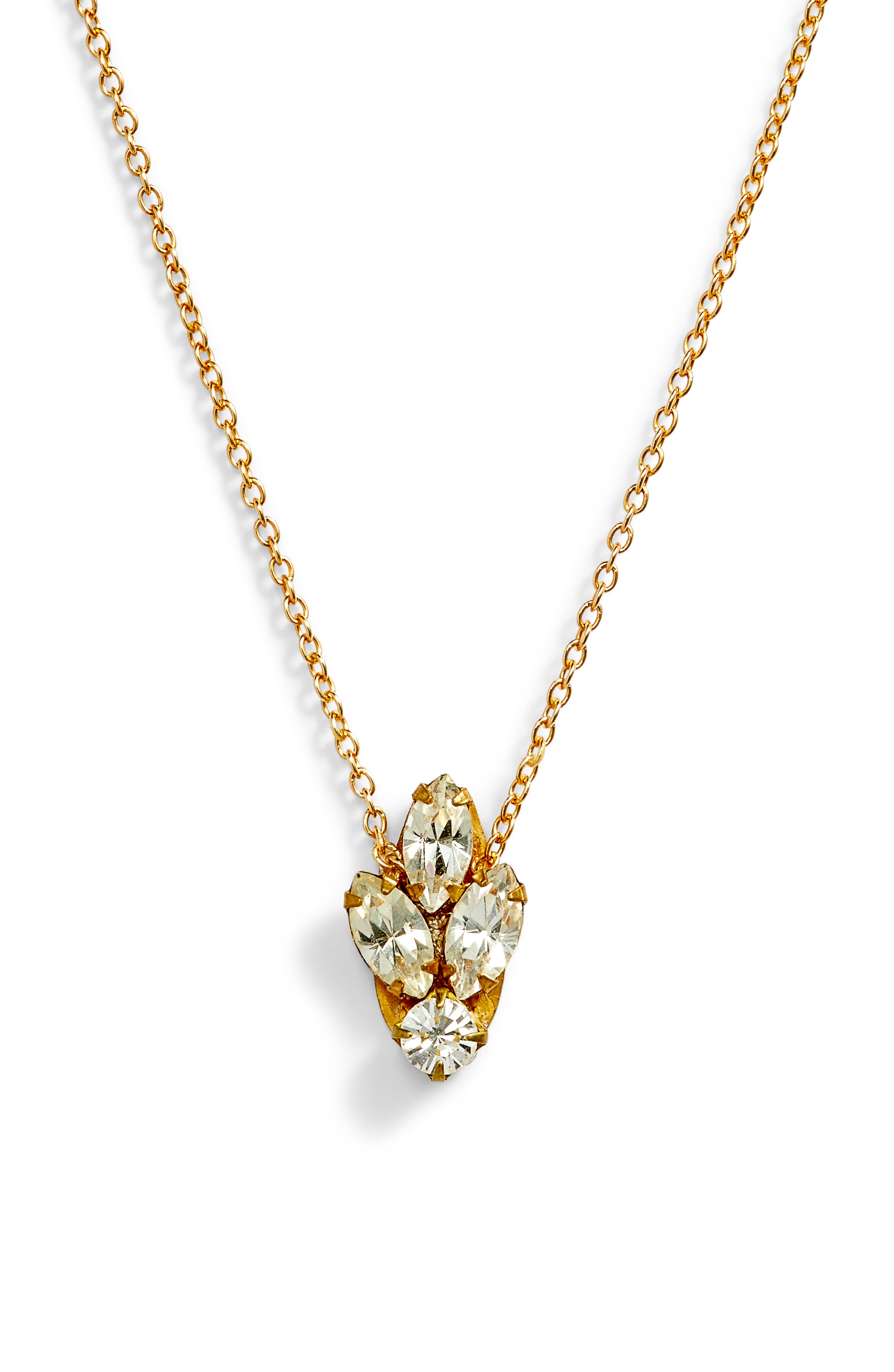 Mini Crystal Necklace,                             Main thumbnail 1, color,                             Gold/ Crystal
