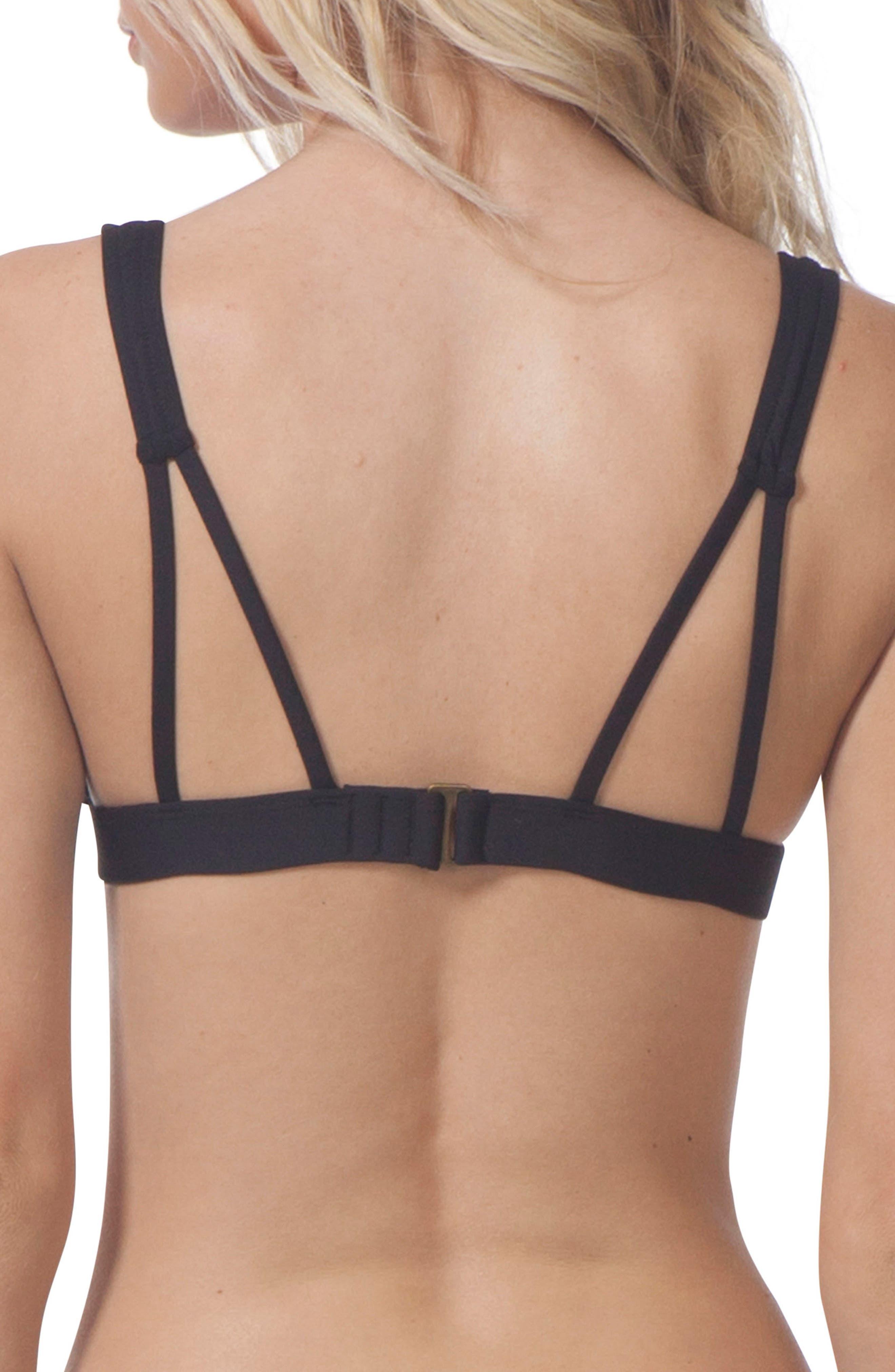 Paradise Cove Triangle Bikini Top,                             Alternate thumbnail 2, color,                             Black
