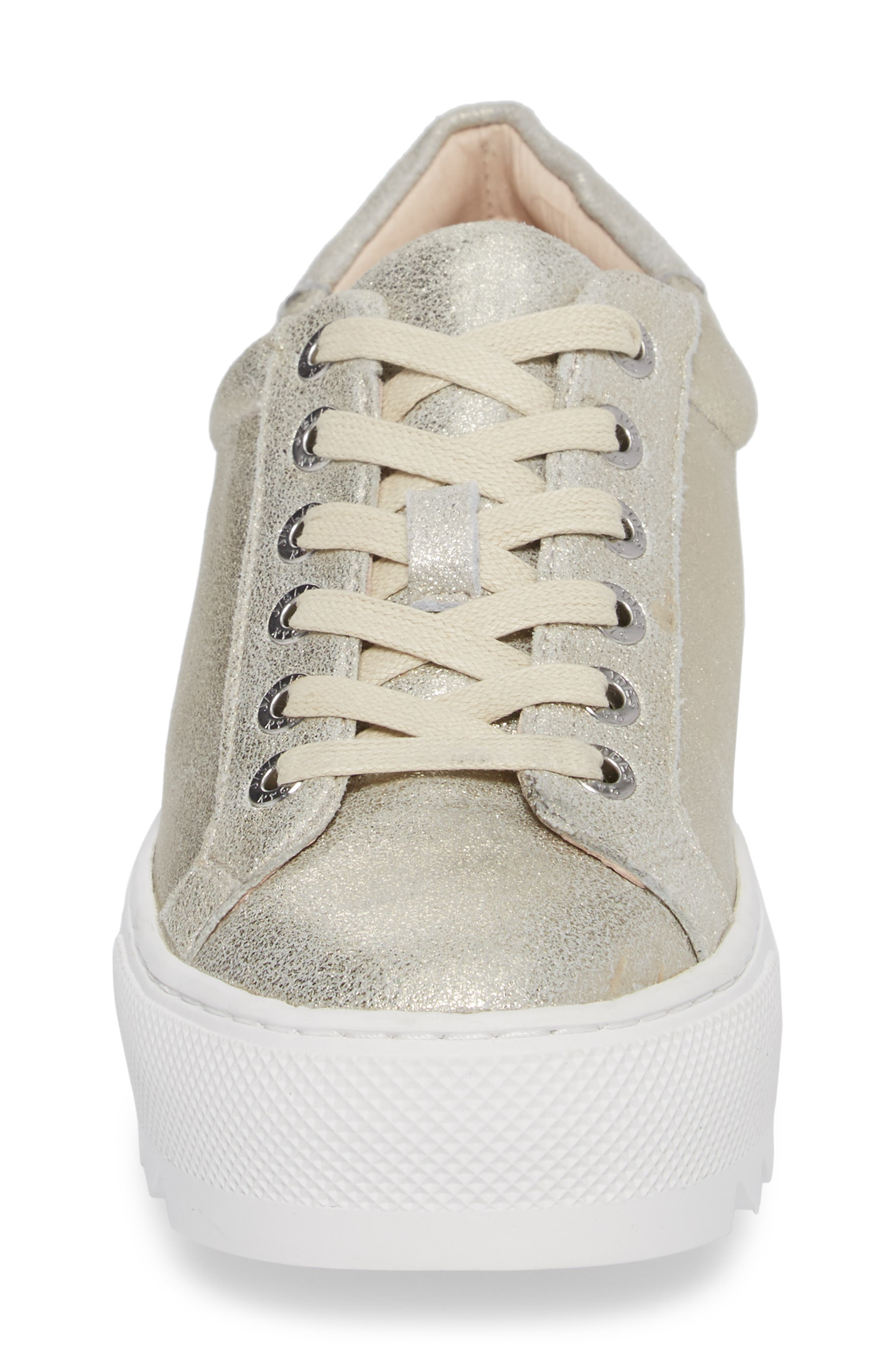 Sapphire Platform Sneaker,                             Alternate thumbnail 4, color,                             Platino Leather
