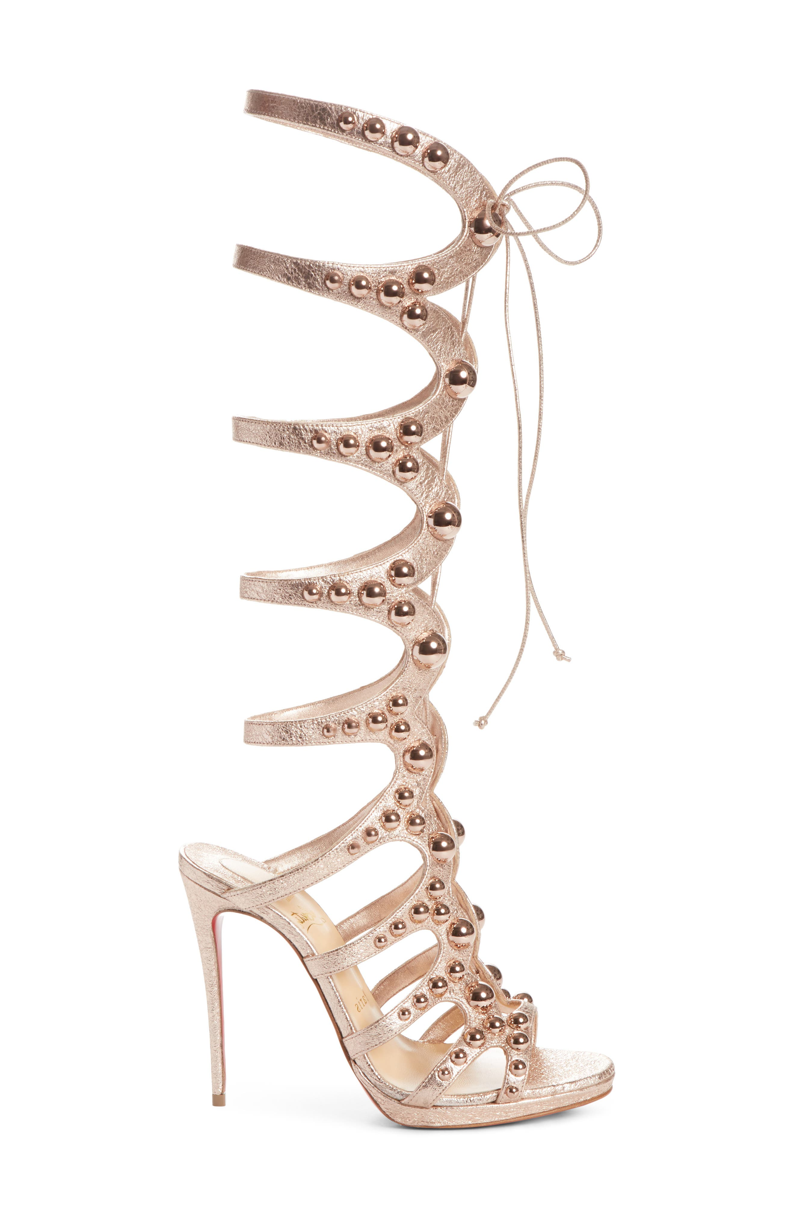 Amazoutiful Ghillie Cage Sandal,                             Alternate thumbnail 4, color,                             Rose Gold