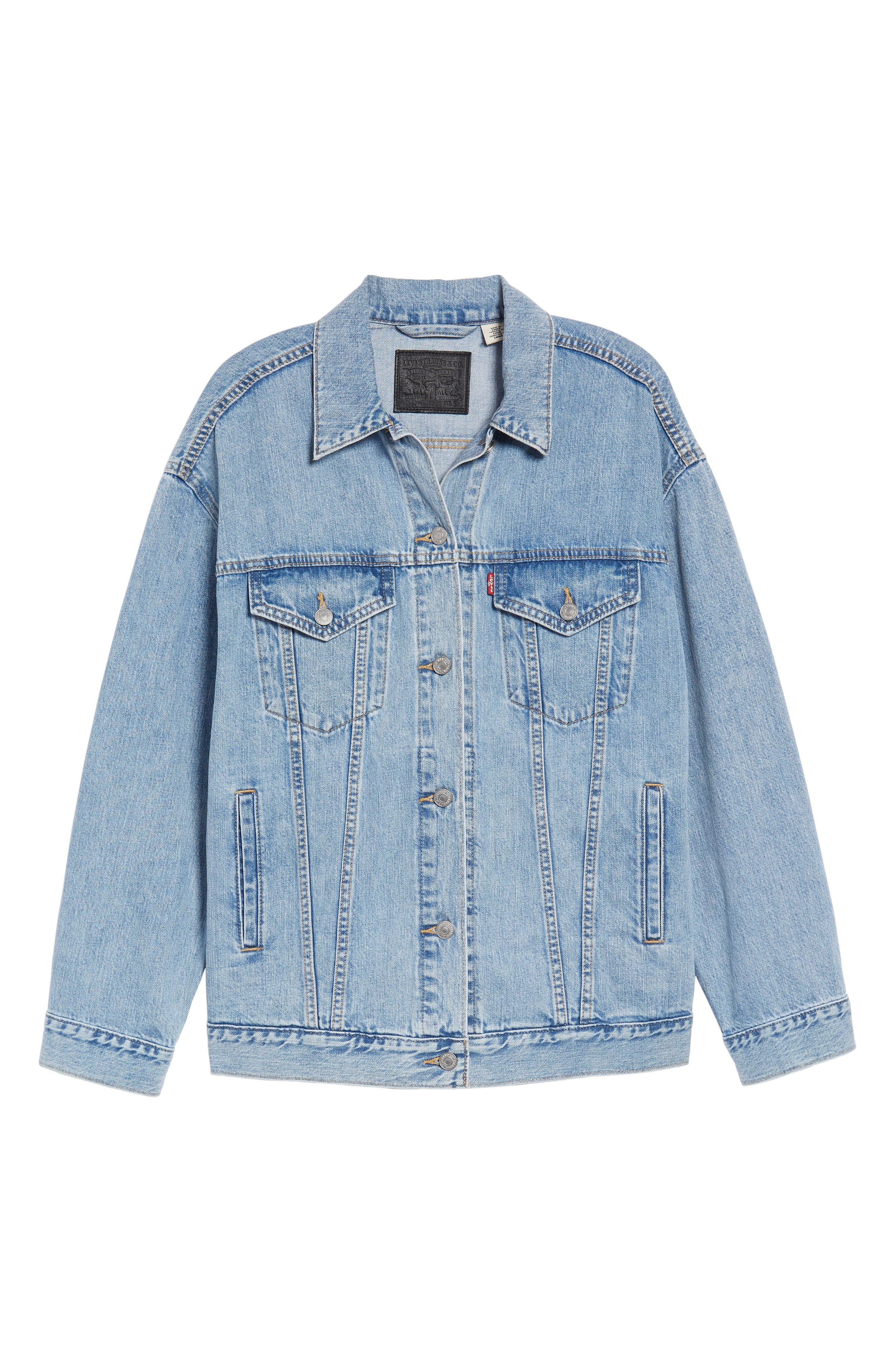 Baggy Trucker Denim Jacket,                             Alternate thumbnail 6, color,                             True Life