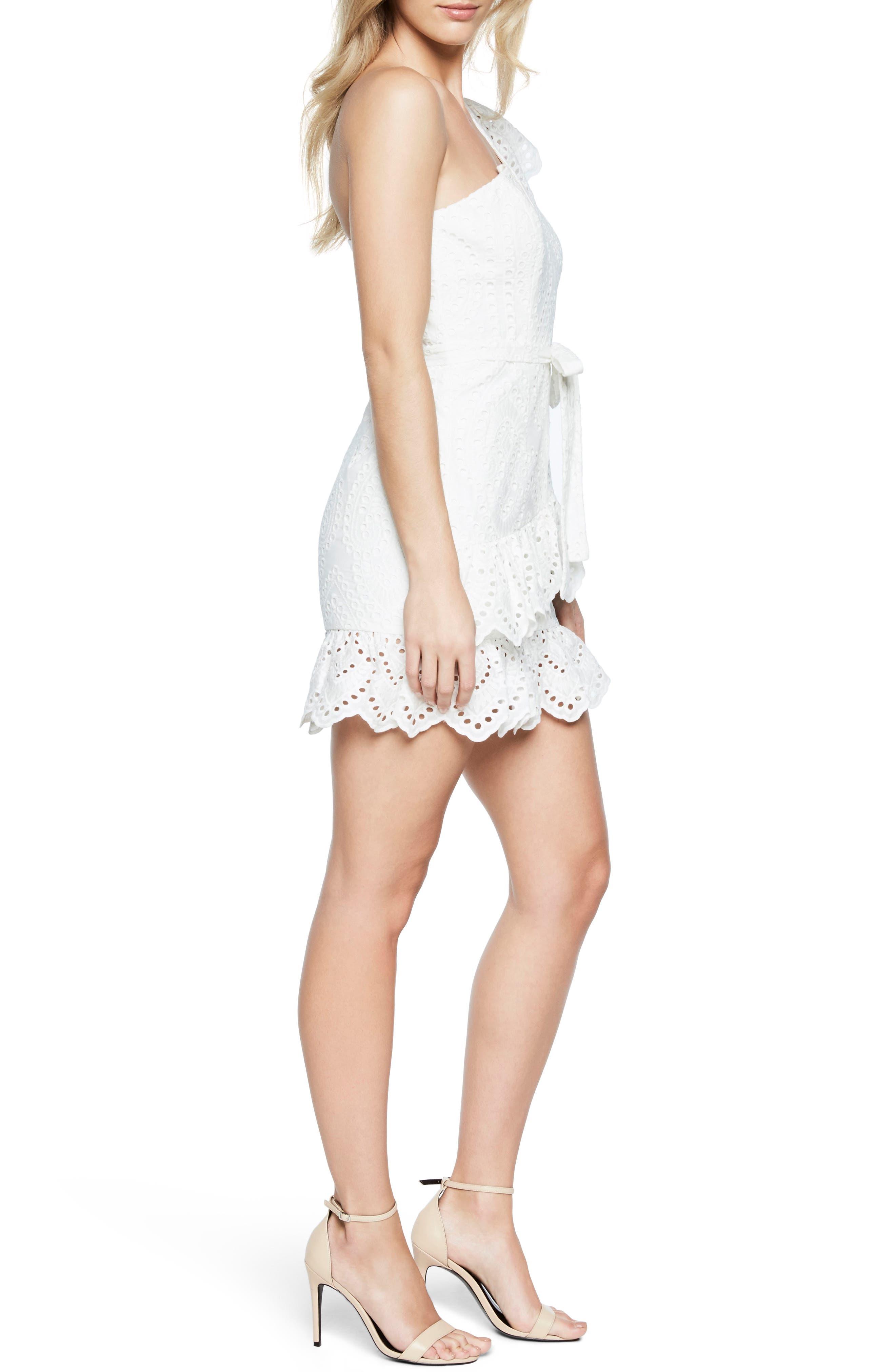 Frill Shoulder Minidress,                             Alternate thumbnail 3, color,                             White