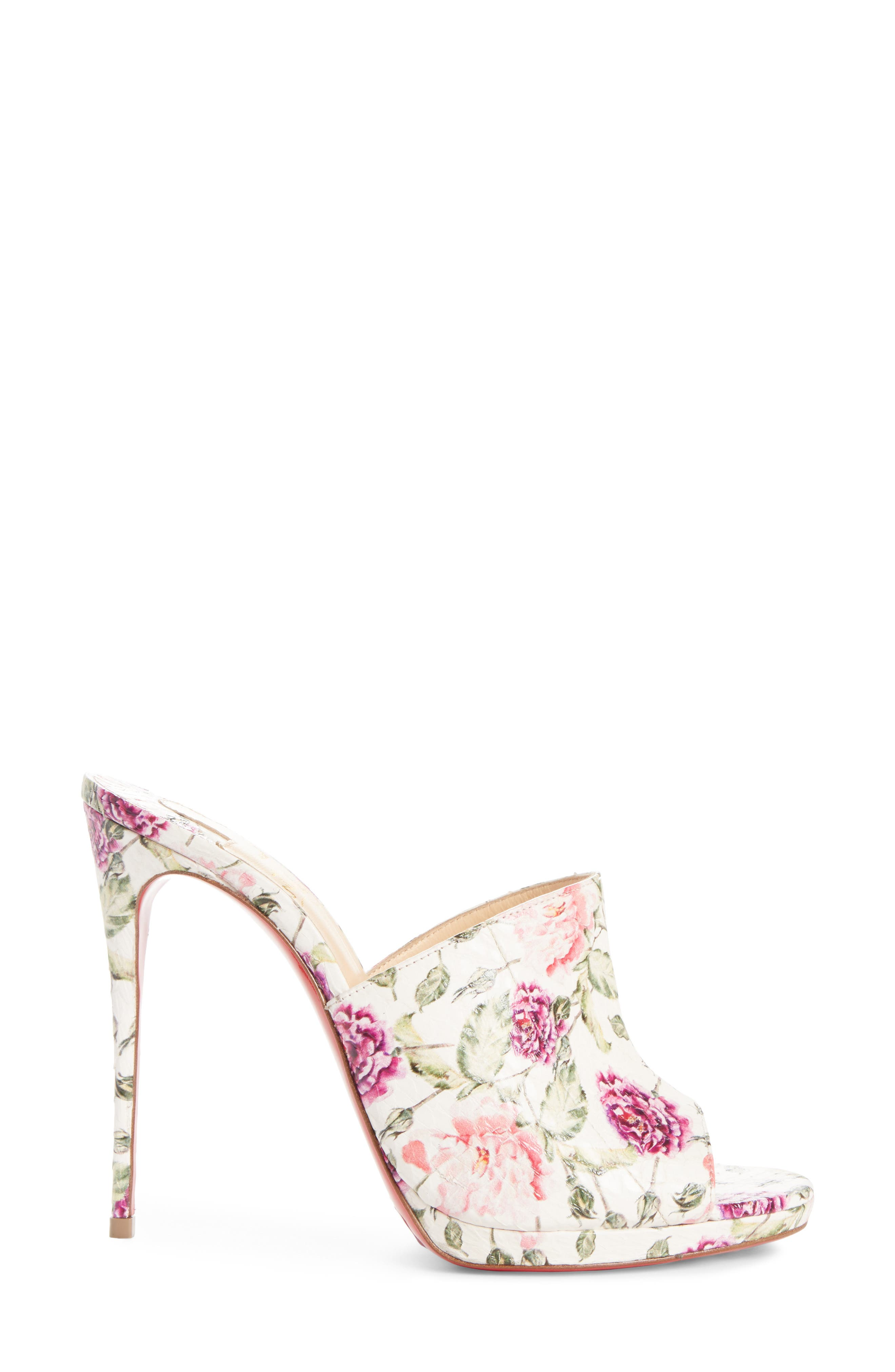 Floral Pigalle Genuine Snakeskin Mule,                             Alternate thumbnail 3, color,                             Latte/ Floral Print