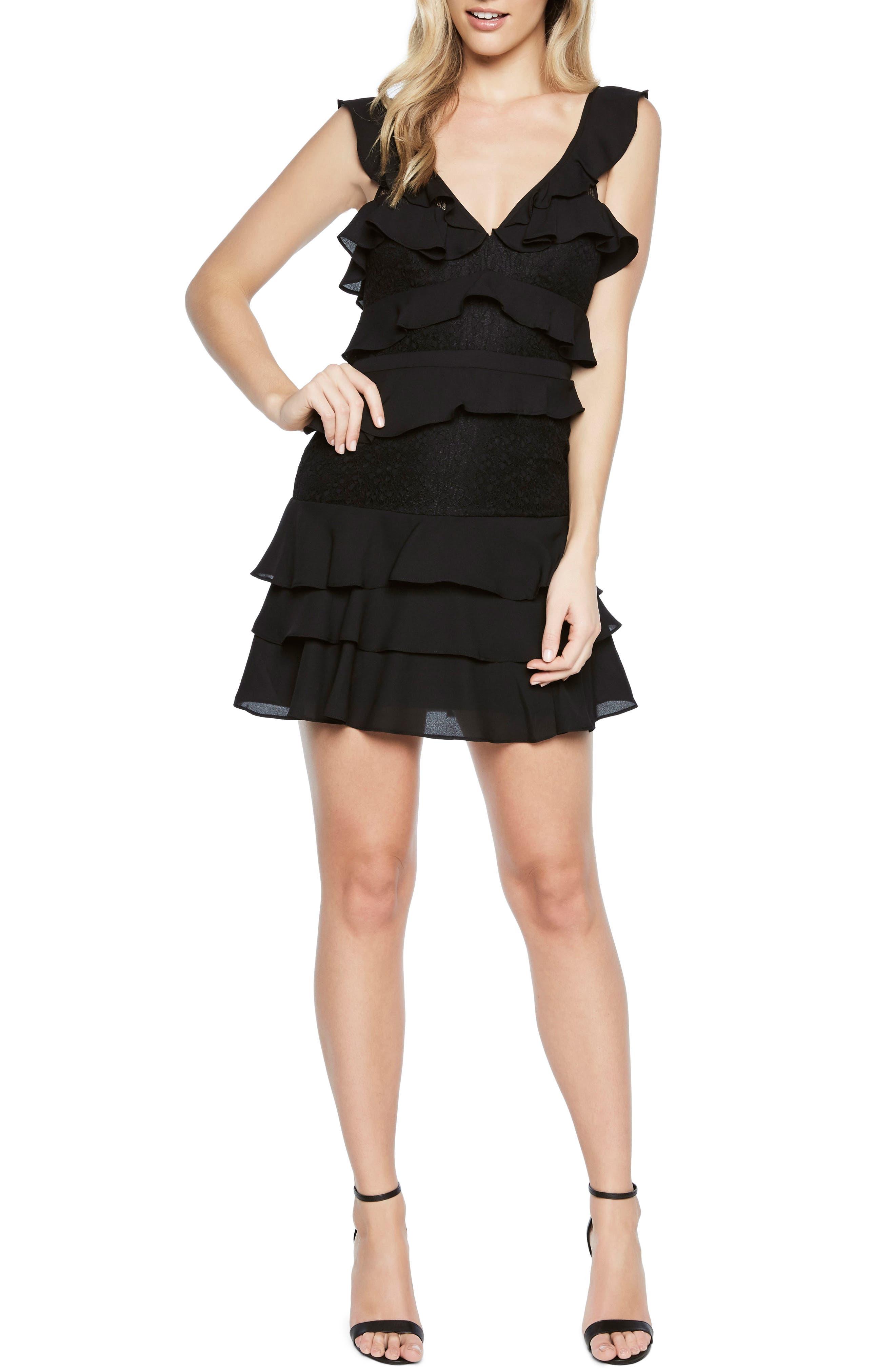 Babylon Ruffle Lace Minidress,                             Main thumbnail 1, color,                             Black