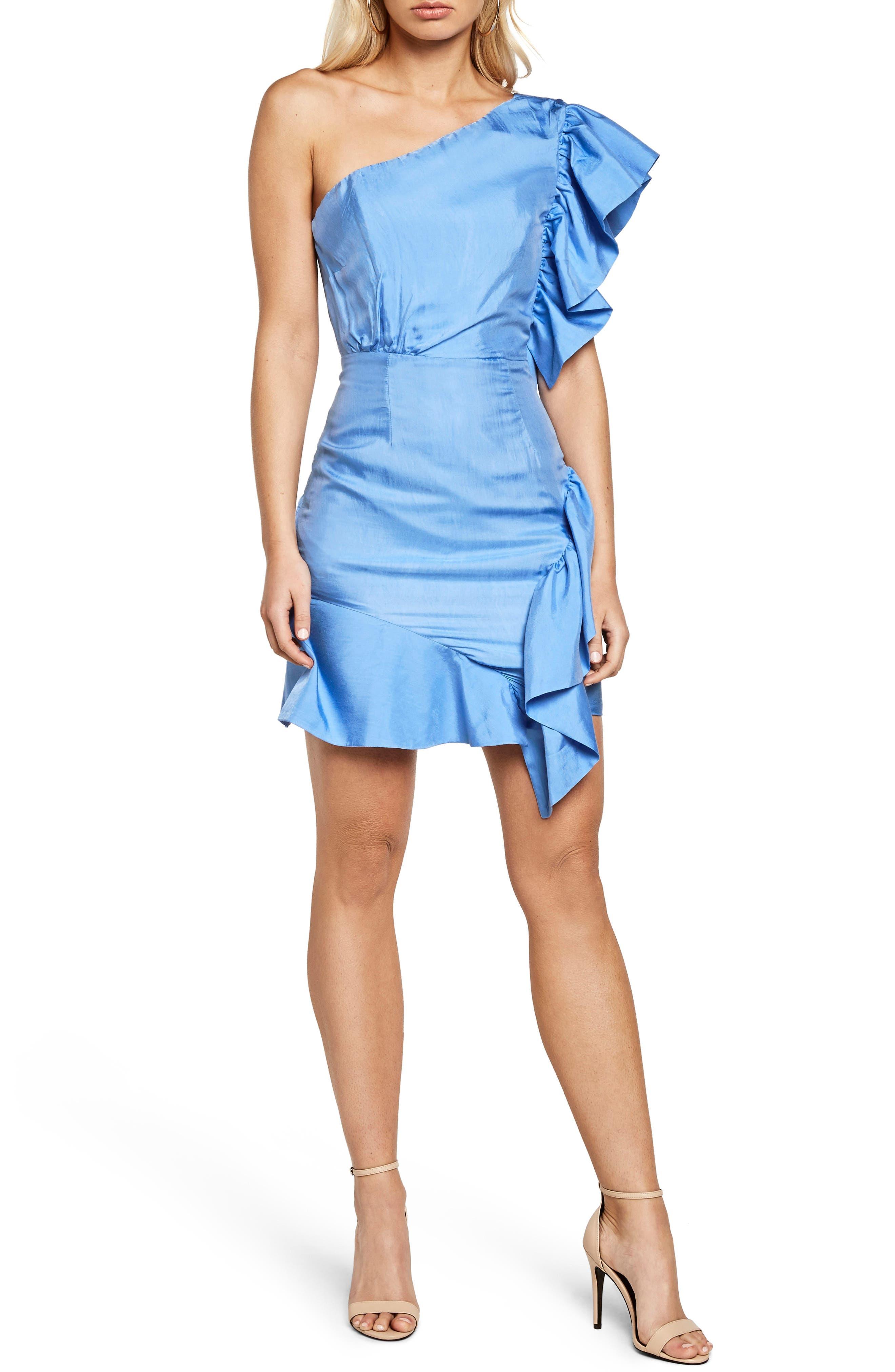 Lucia Frill One-Shoulder Dress,                             Main thumbnail 1, color,                             Marina Blue