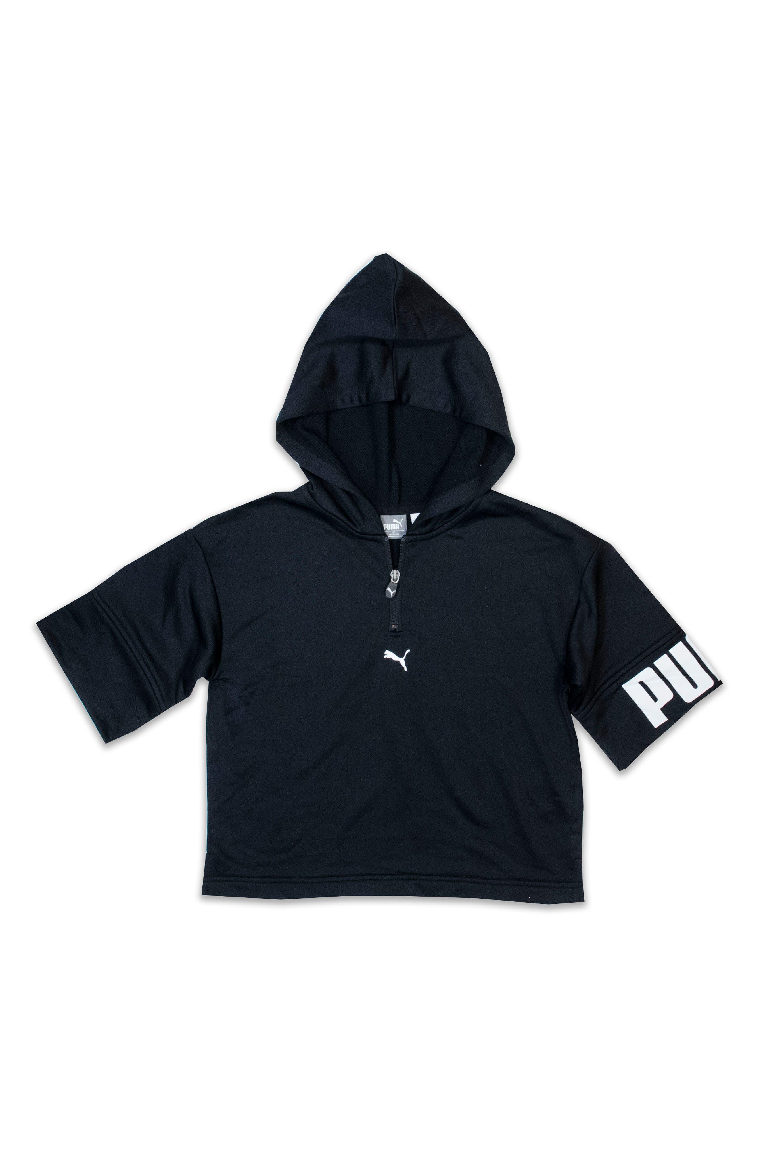 Short Sleeve Quarter Zip Hoodie,                             Main thumbnail 1, color,                             Puma Black