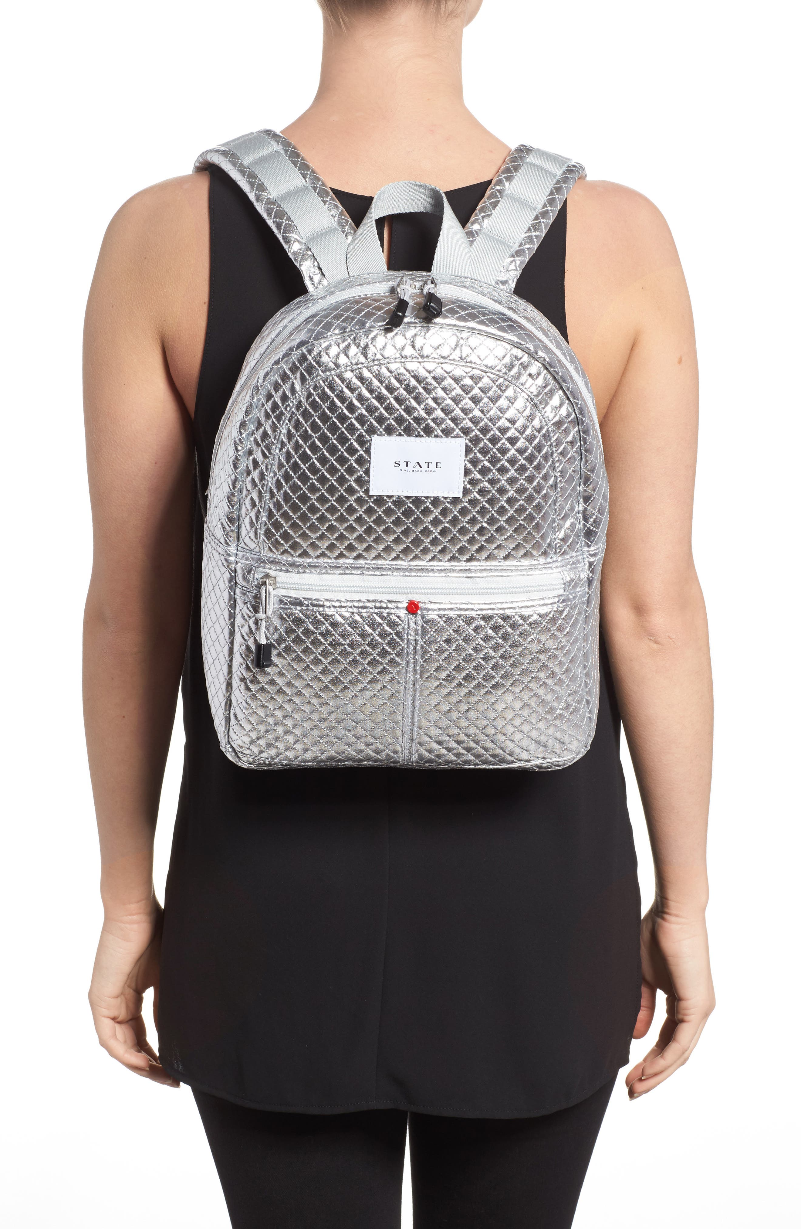 Flatbush Mini Kane Backpack,                             Alternate thumbnail 2, color,                             Silver Quilted