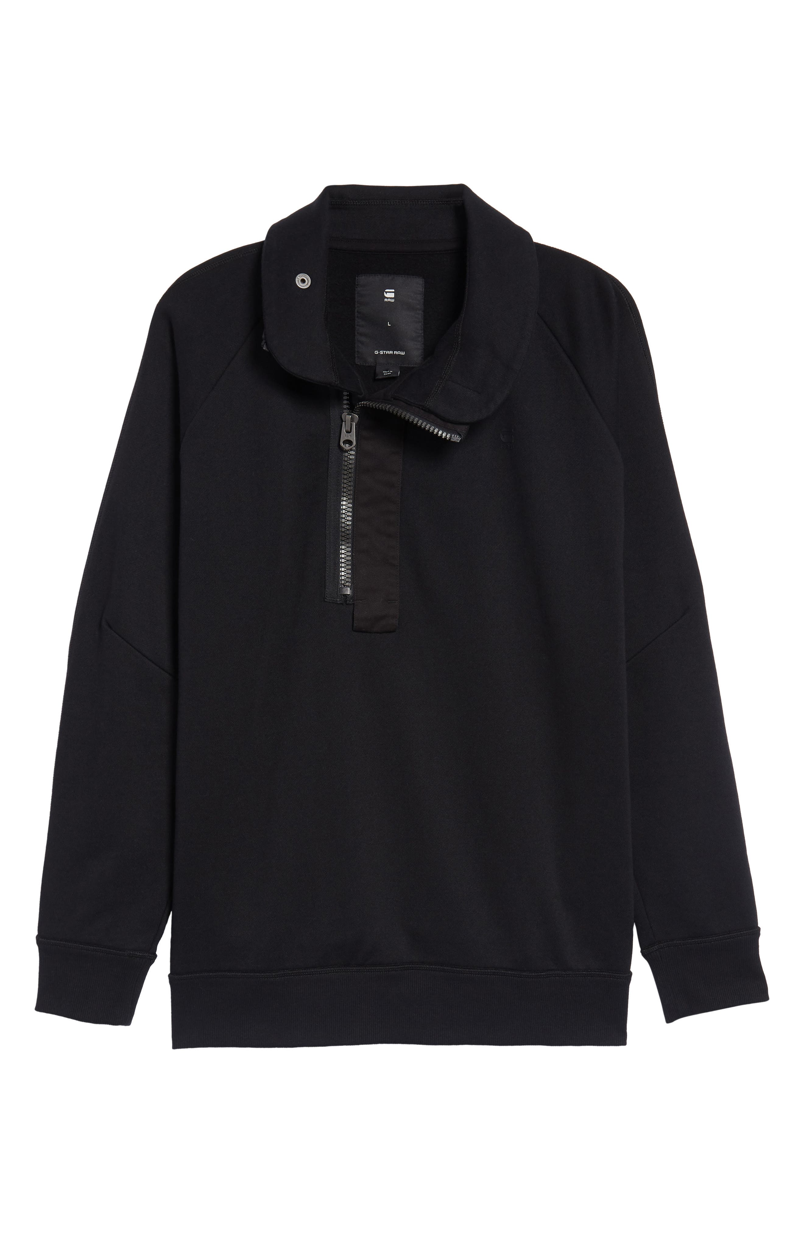 Empral Quarter Zip Pullover,                             Alternate thumbnail 6, color,                             Dark Black