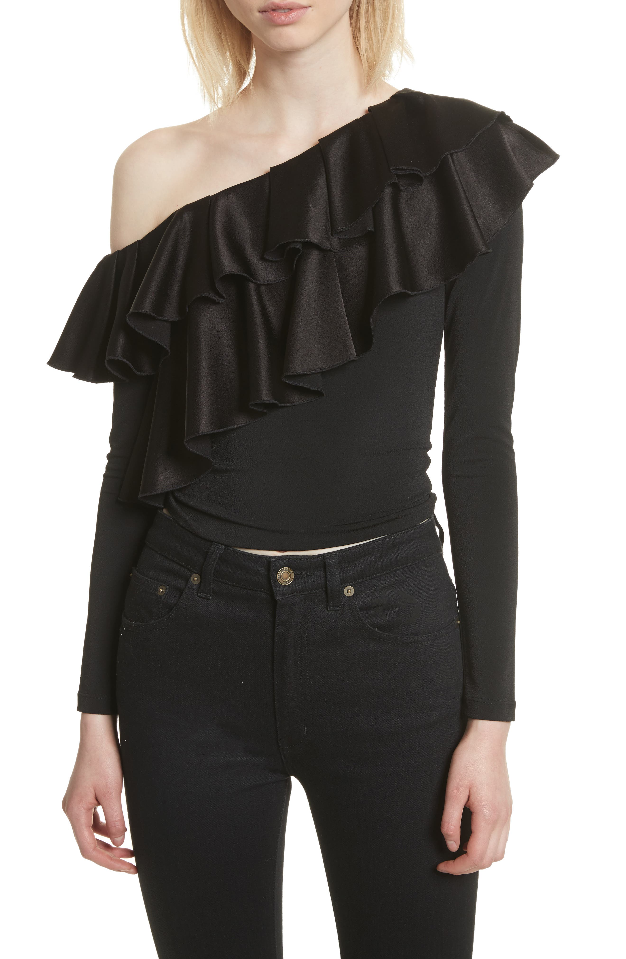 Izzy One-Shoulder Ruffle Crop Top,                             Main thumbnail 1, color,                             Black