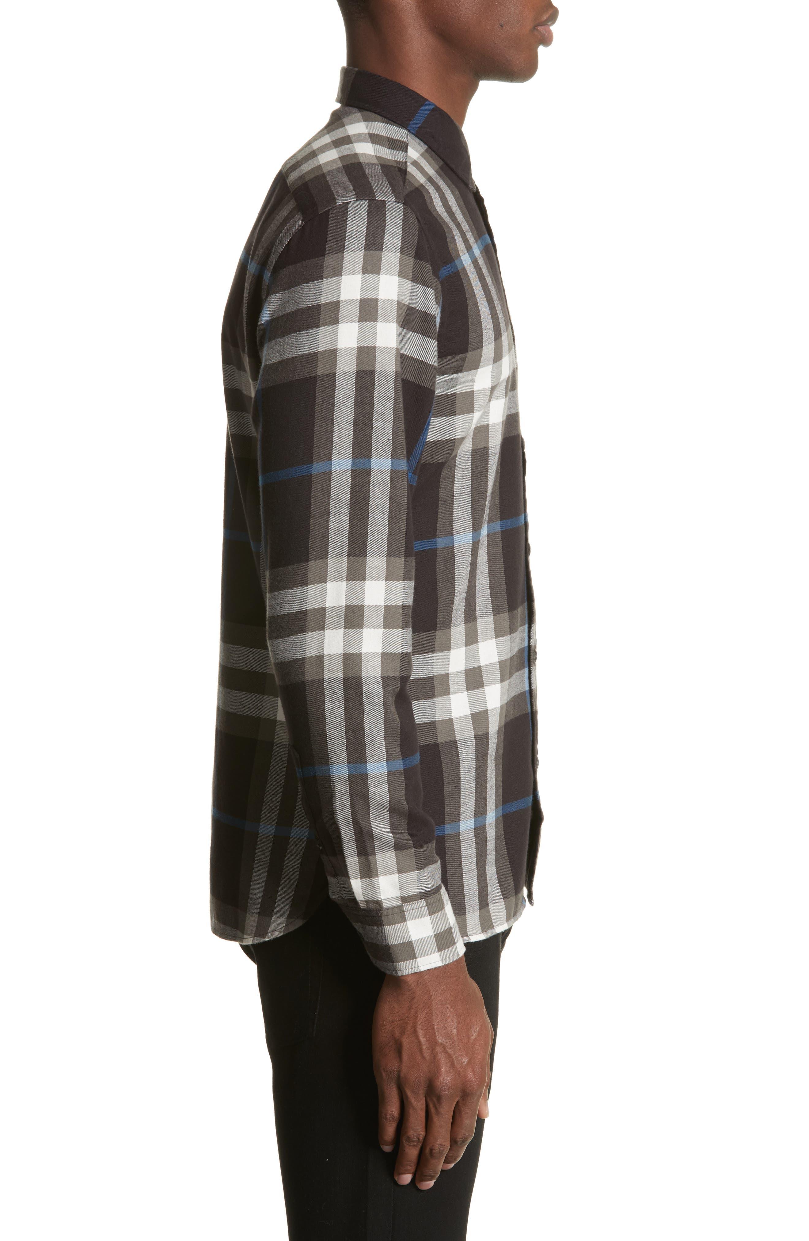 Salwick Slim Fit Sport Shirt,                             Alternate thumbnail 3, color,                             Black