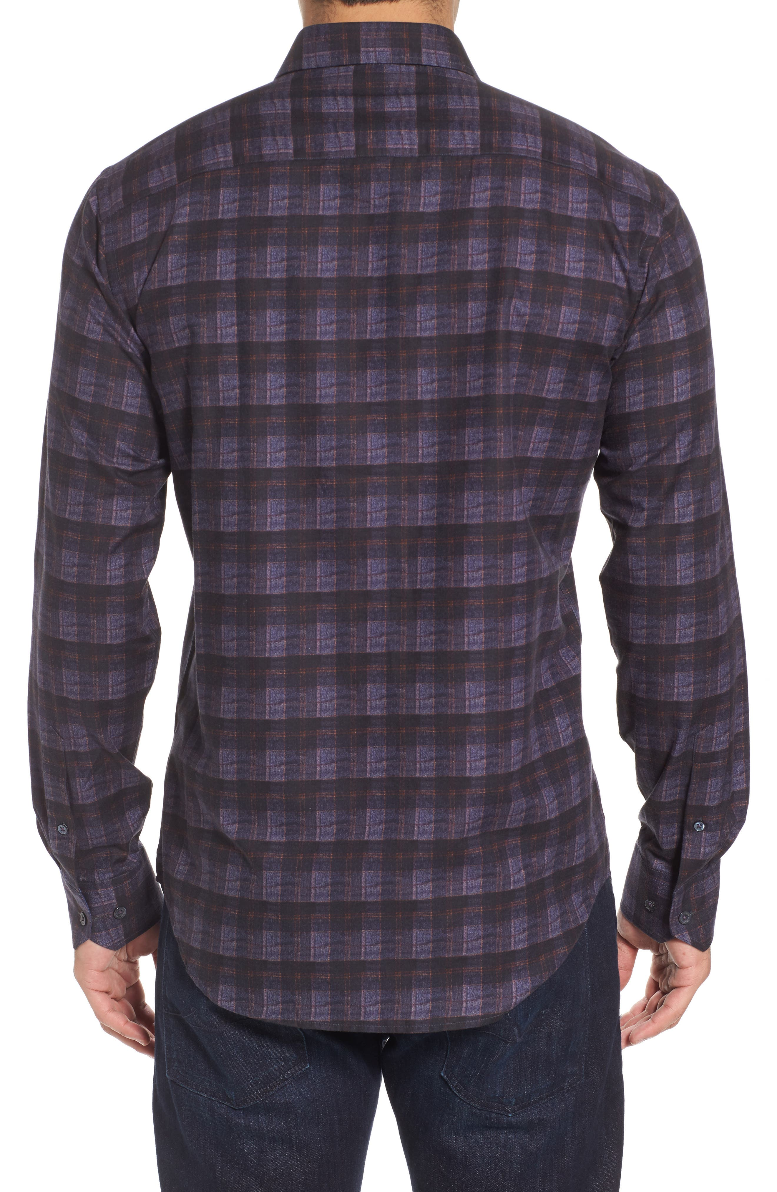 Trim Fit Check Sport Shirt,                             Alternate thumbnail 2, color,                             Midnight
