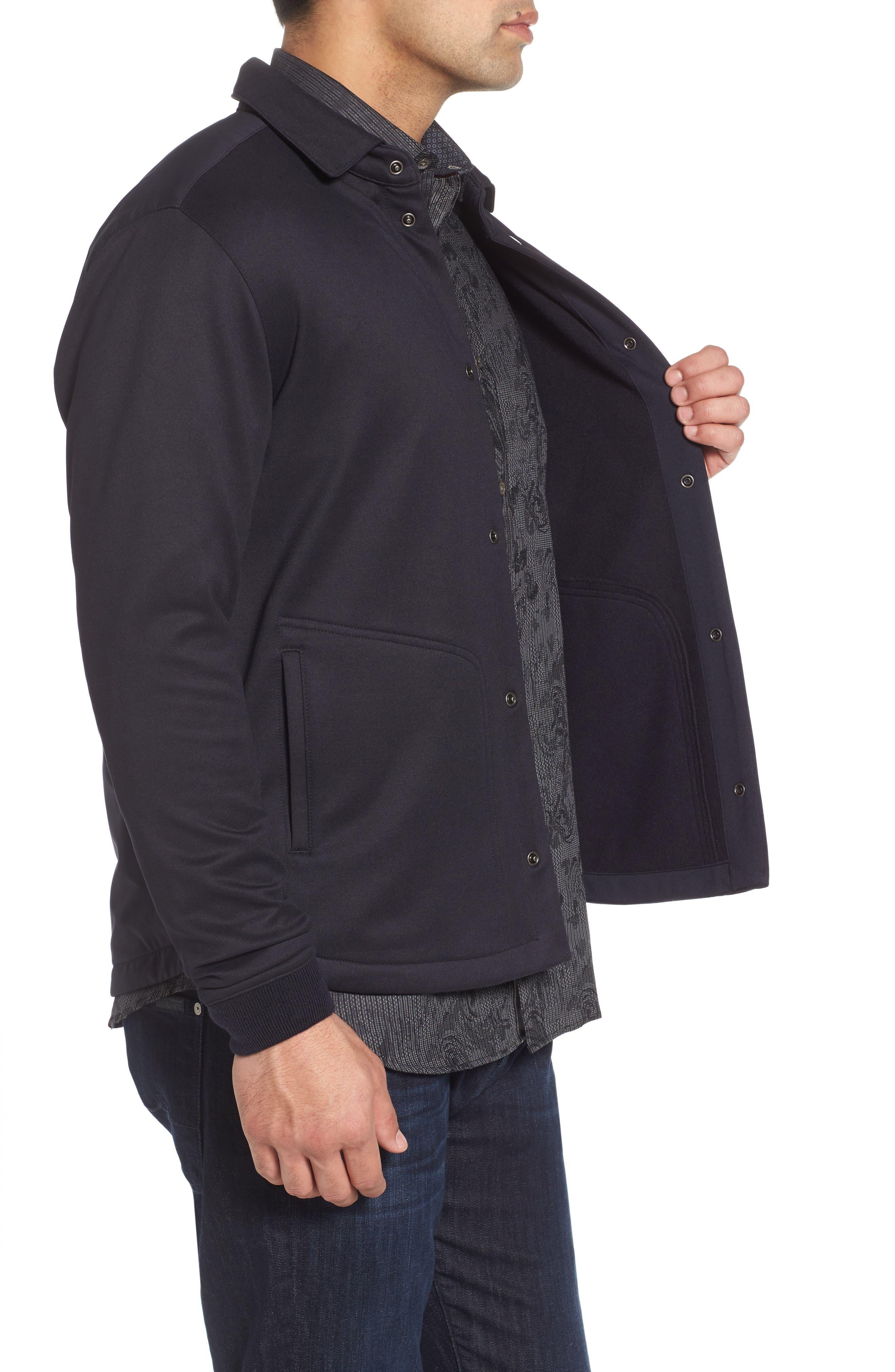 Wool Snap Jacket,                             Alternate thumbnail 3, color,                             Navy