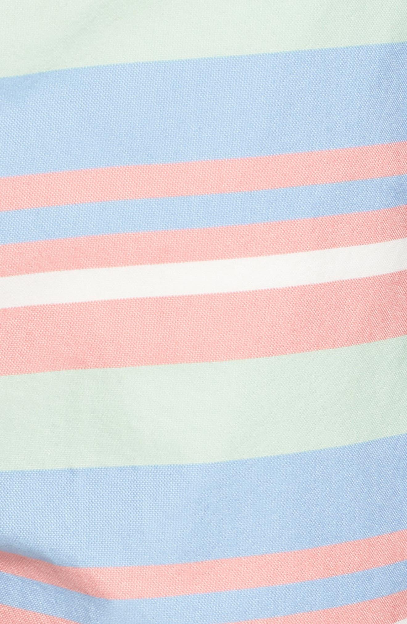 Stripe Flat Front Shorts,                             Alternate thumbnail 5, color,                             Tahoe Blue