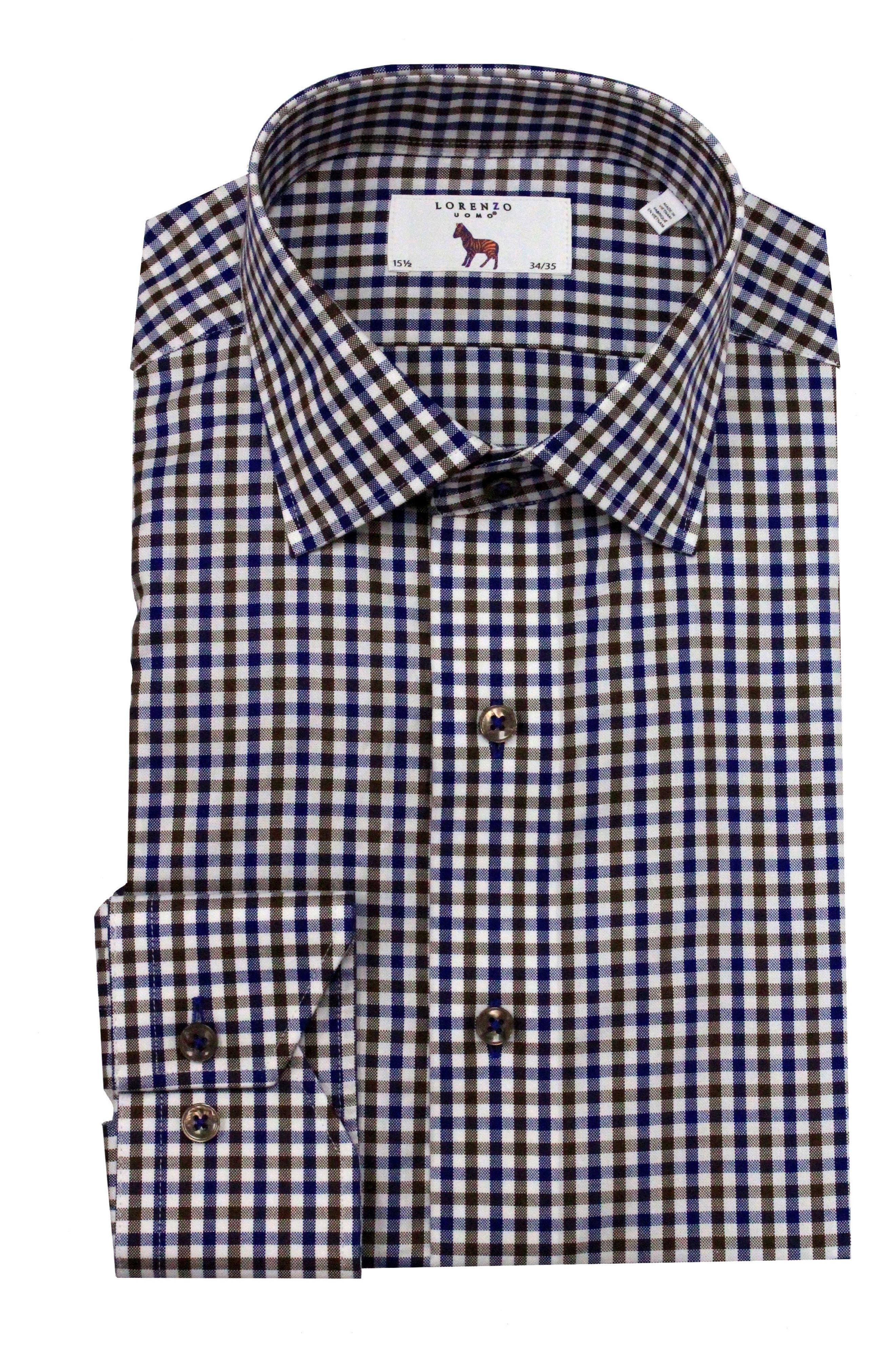 Trim Fit Check Dress Shirt,                         Main,                         color, Navy/ Brown