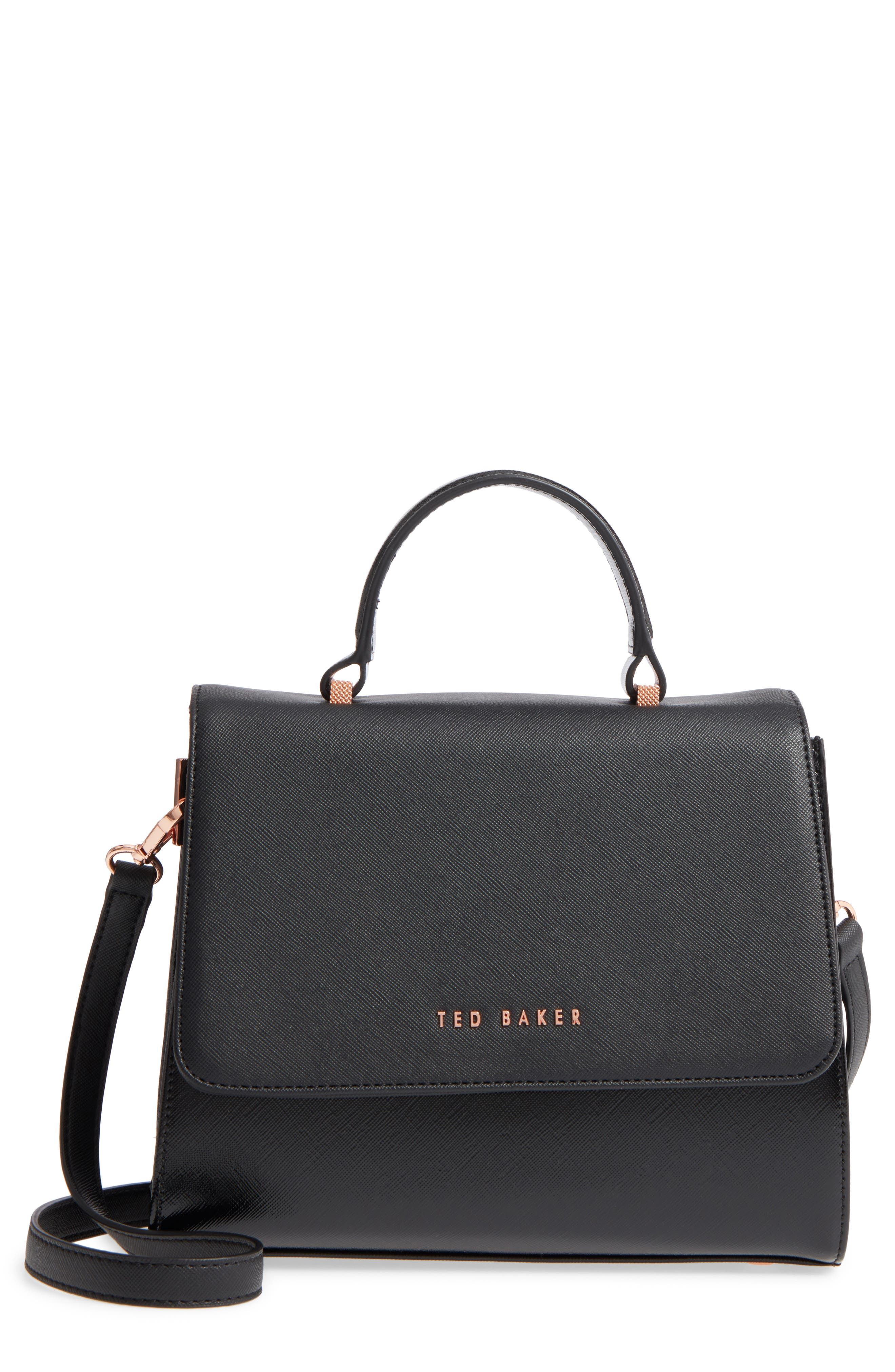 Small Hilaryy Faux Leather Satchel,                             Main thumbnail 1, color,                             Black