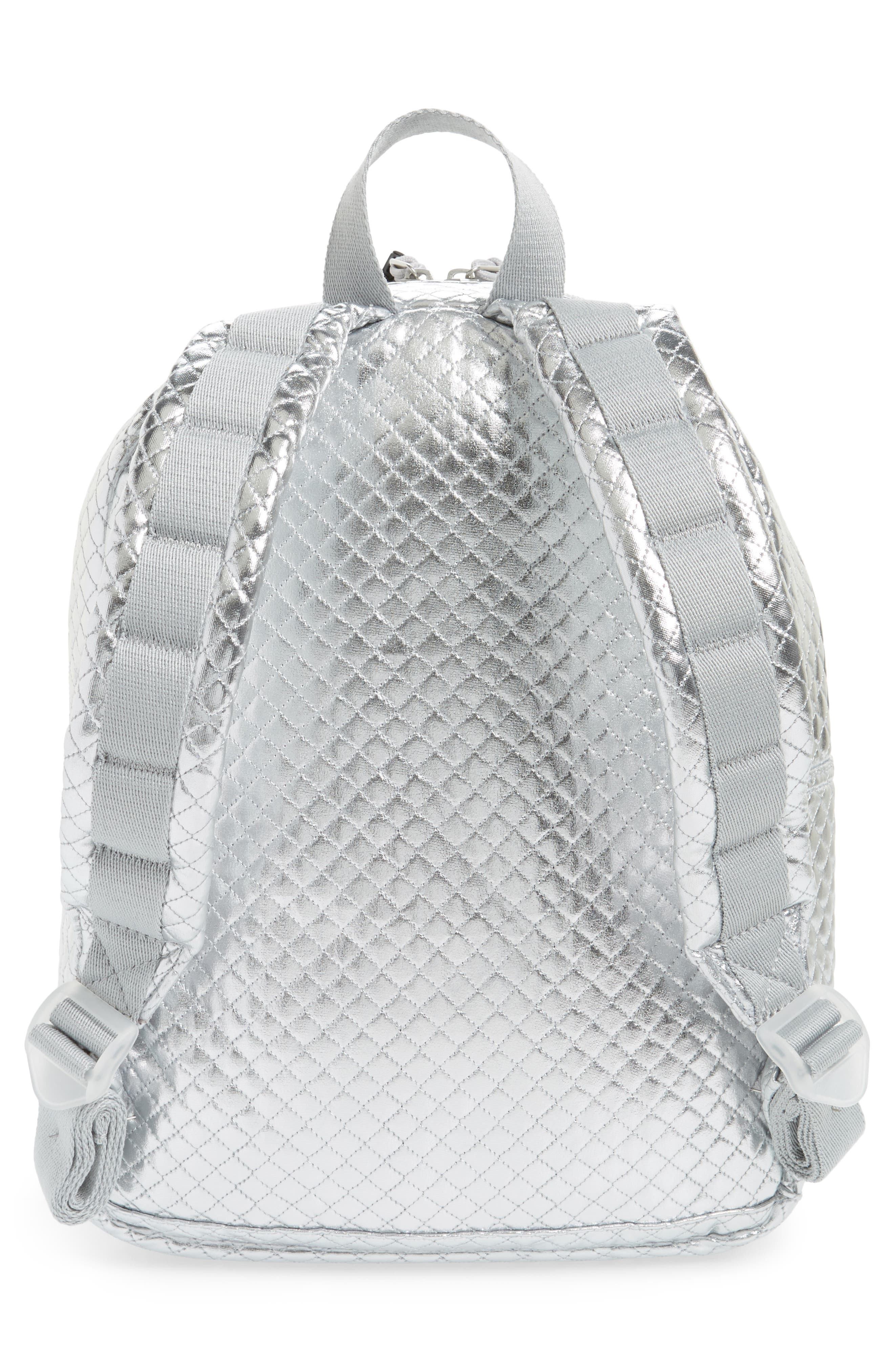 Flatbush Mini Kane Backpack,                             Alternate thumbnail 3, color,                             Silver Quilted