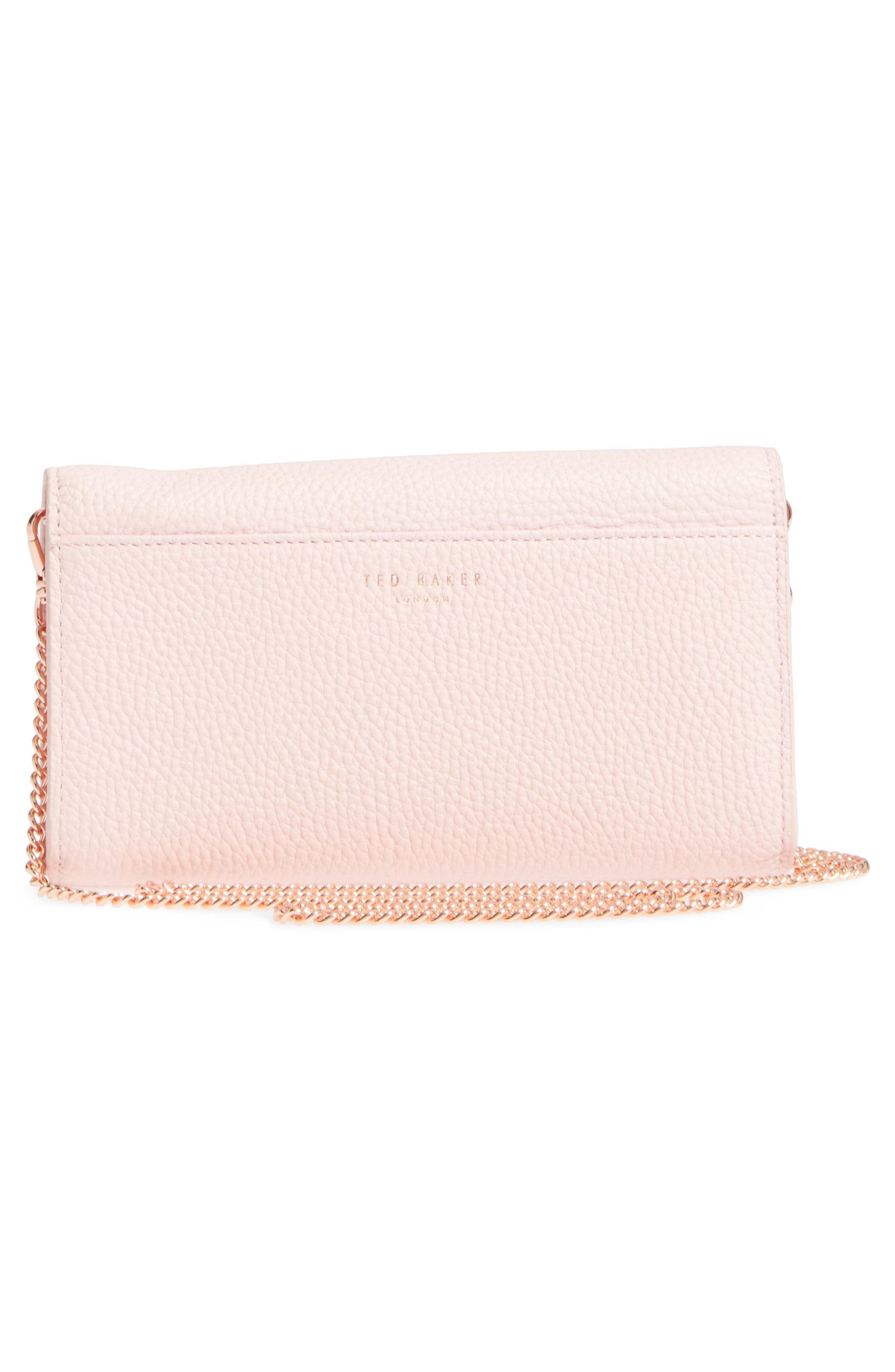Leather Wallet on a Chain,                             Alternate thumbnail 4, color,                             Light Pink
