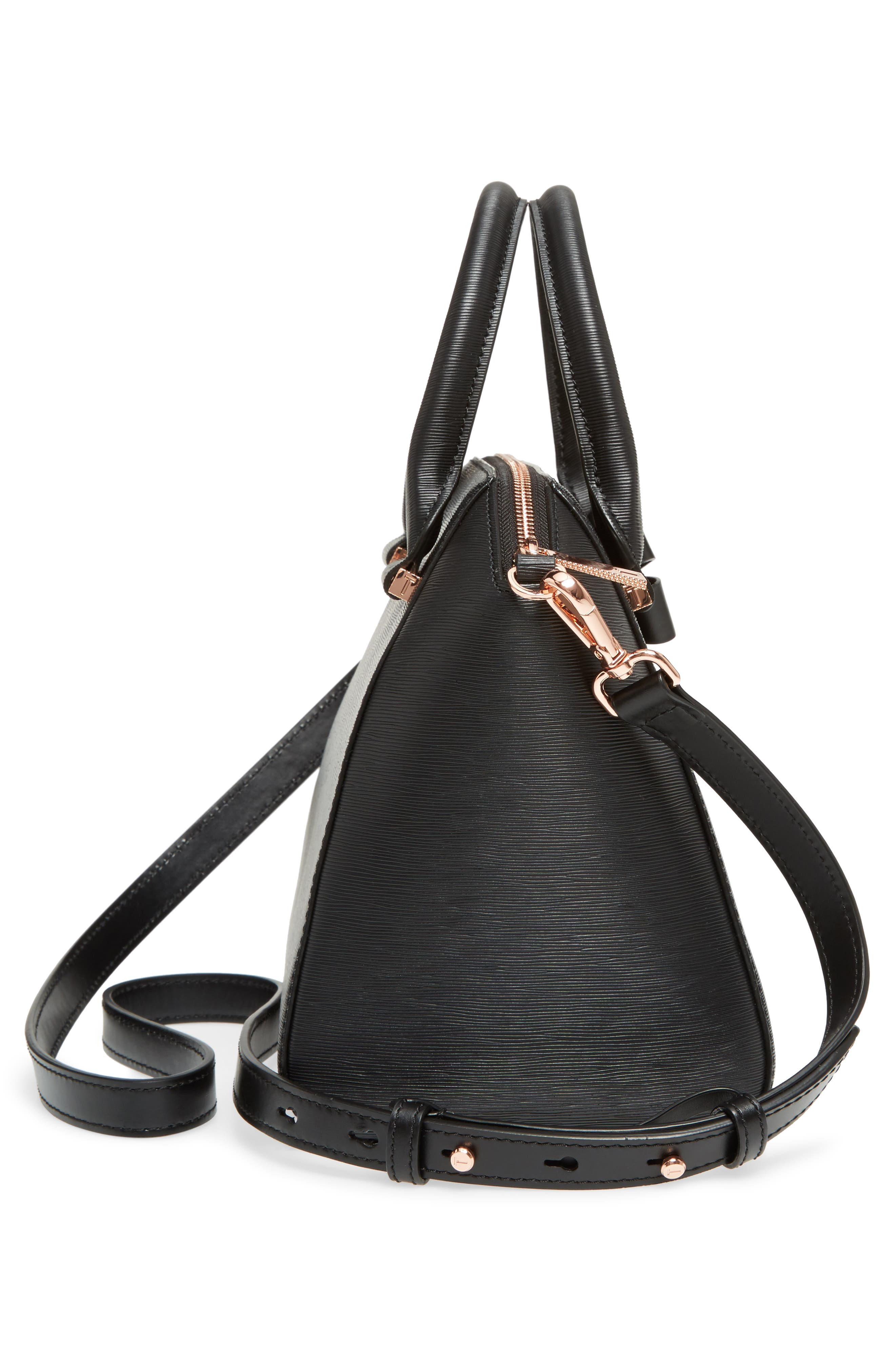 Charmea Bow Small Leather Tote,                             Alternate thumbnail 5, color,                             Black
