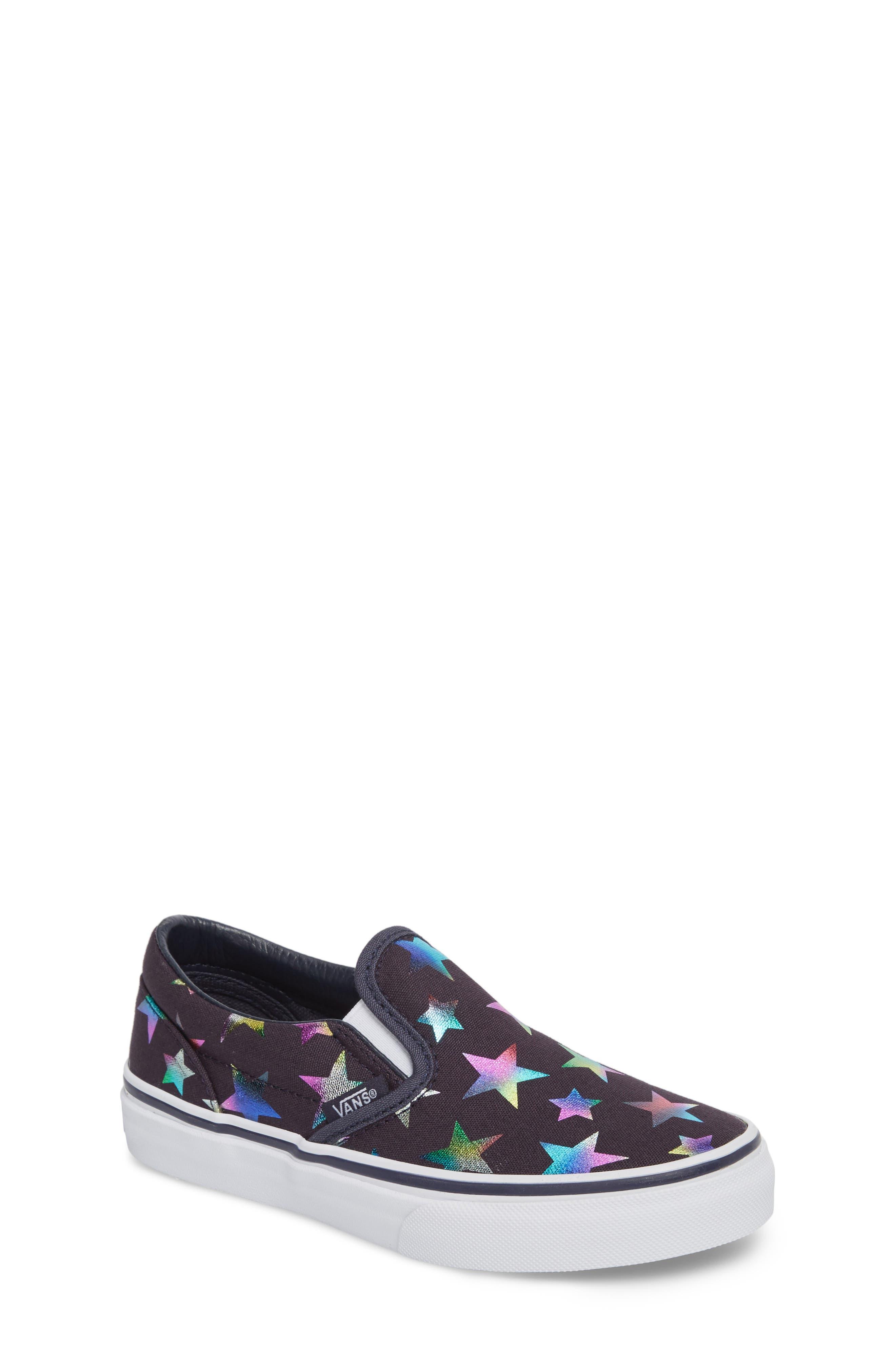 Classic Rainbow Shimmer Star Slip-On Sneaker,                             Main thumbnail 1, color,                             Parisian Night Foil Stars