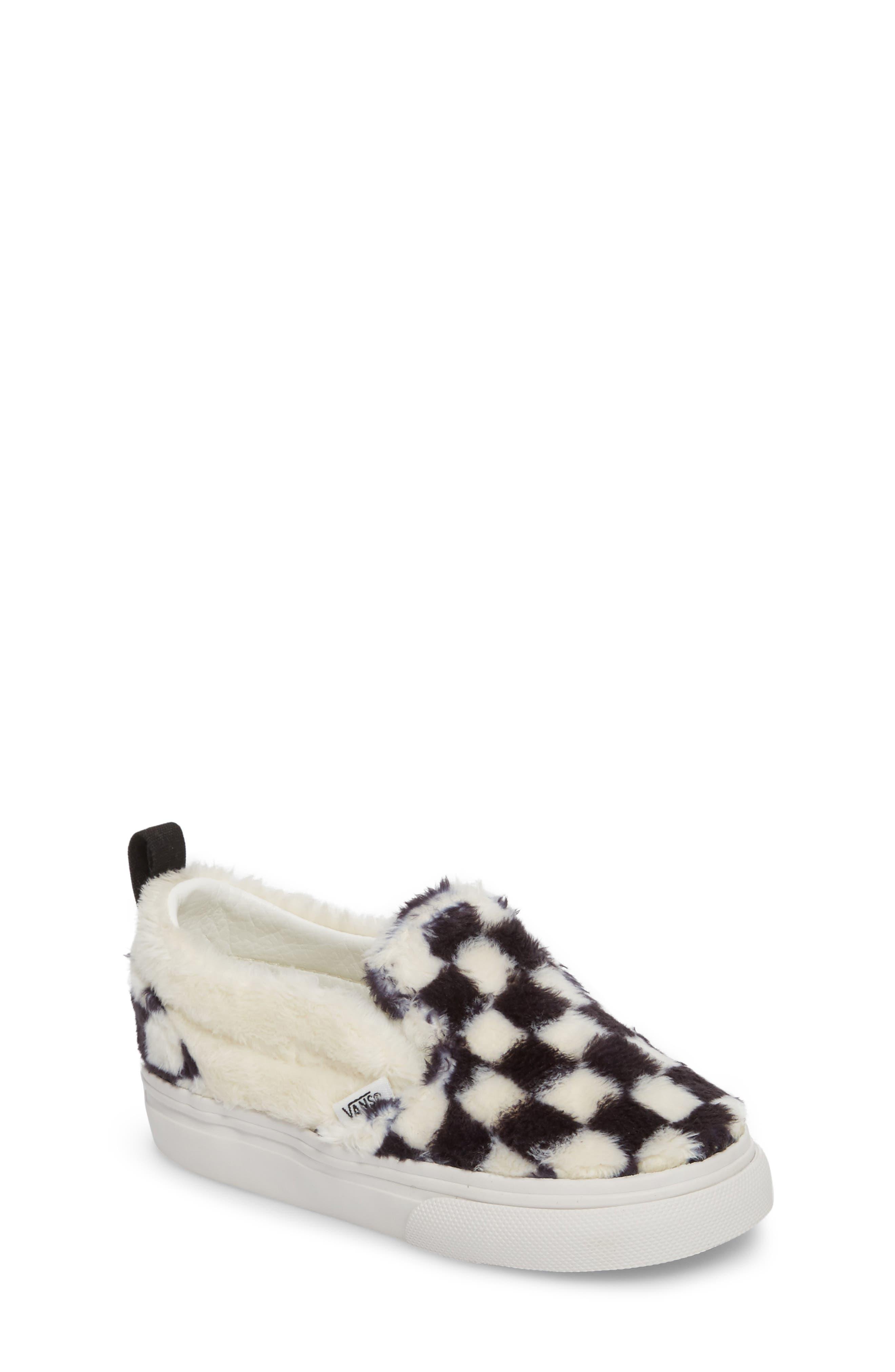 Faux Fur Slip-On Sneaker,                             Main thumbnail 1, color,                             Black/ White Sherpa Check