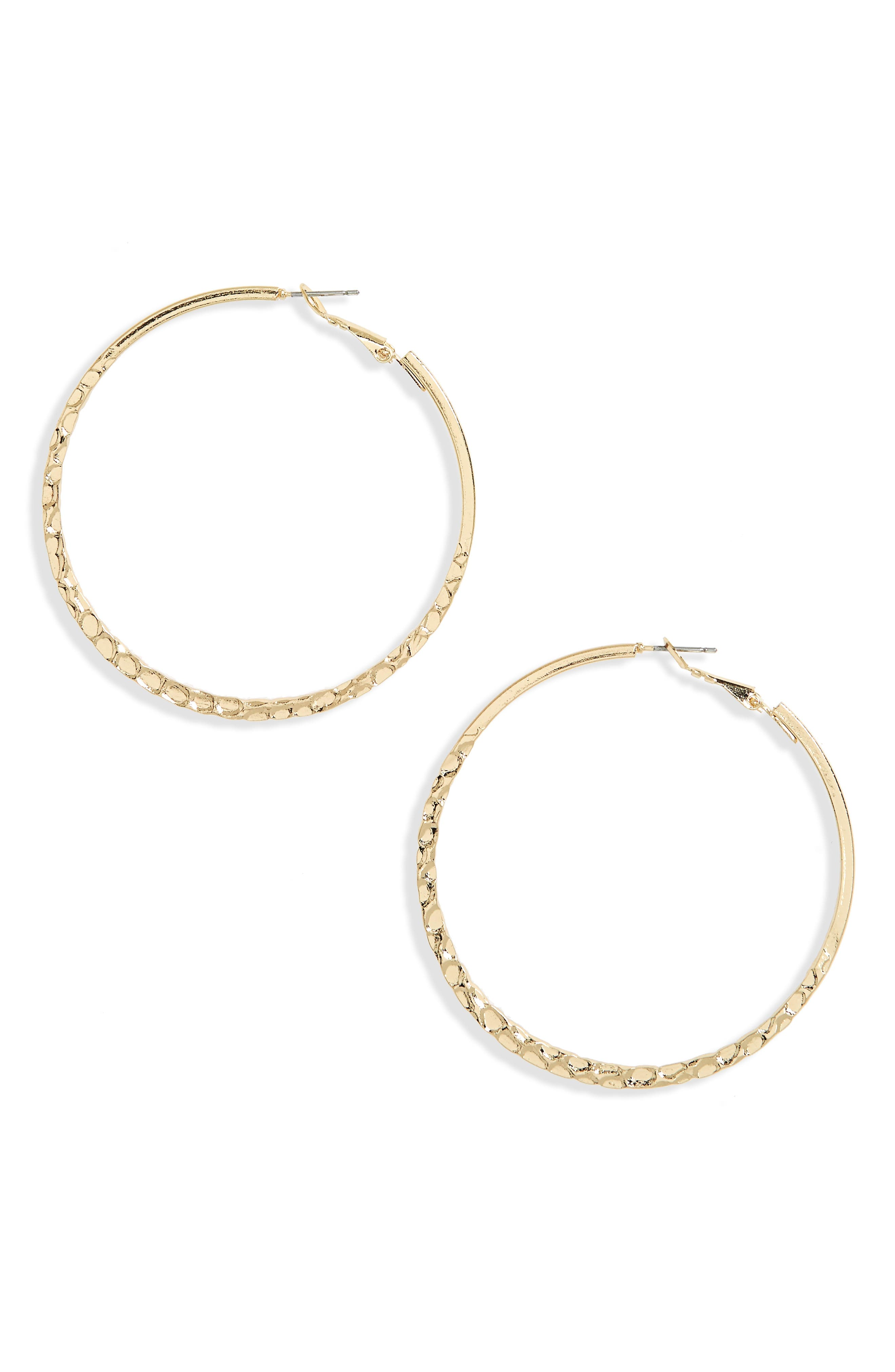 Large Textured Hoop Earrings,                             Main thumbnail 1, color,                             Gold