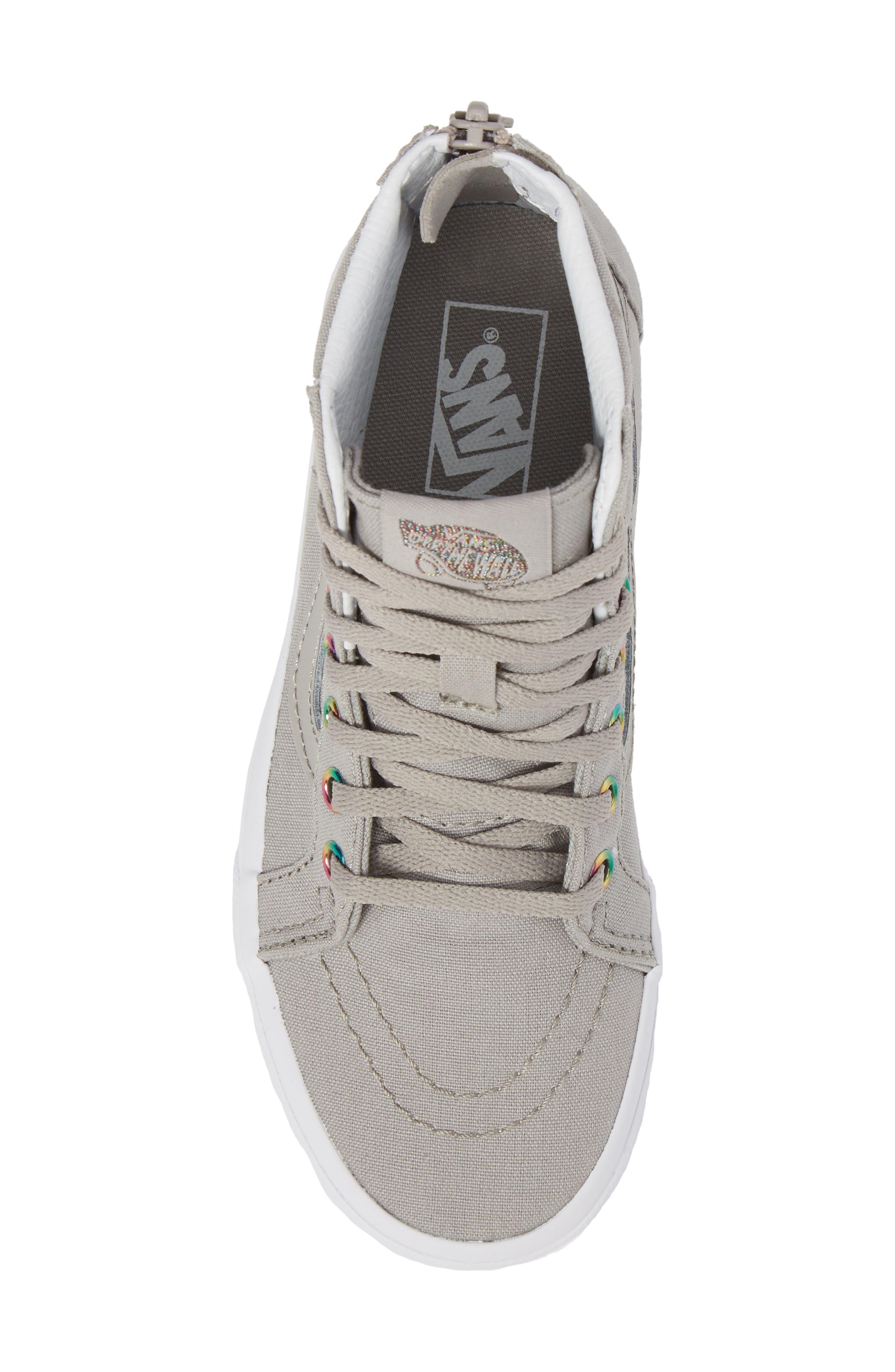 Sk8-Hi Zip High Top Sneaker,                             Alternate thumbnail 5, color,                             Rainbow Eyelet Drizzle