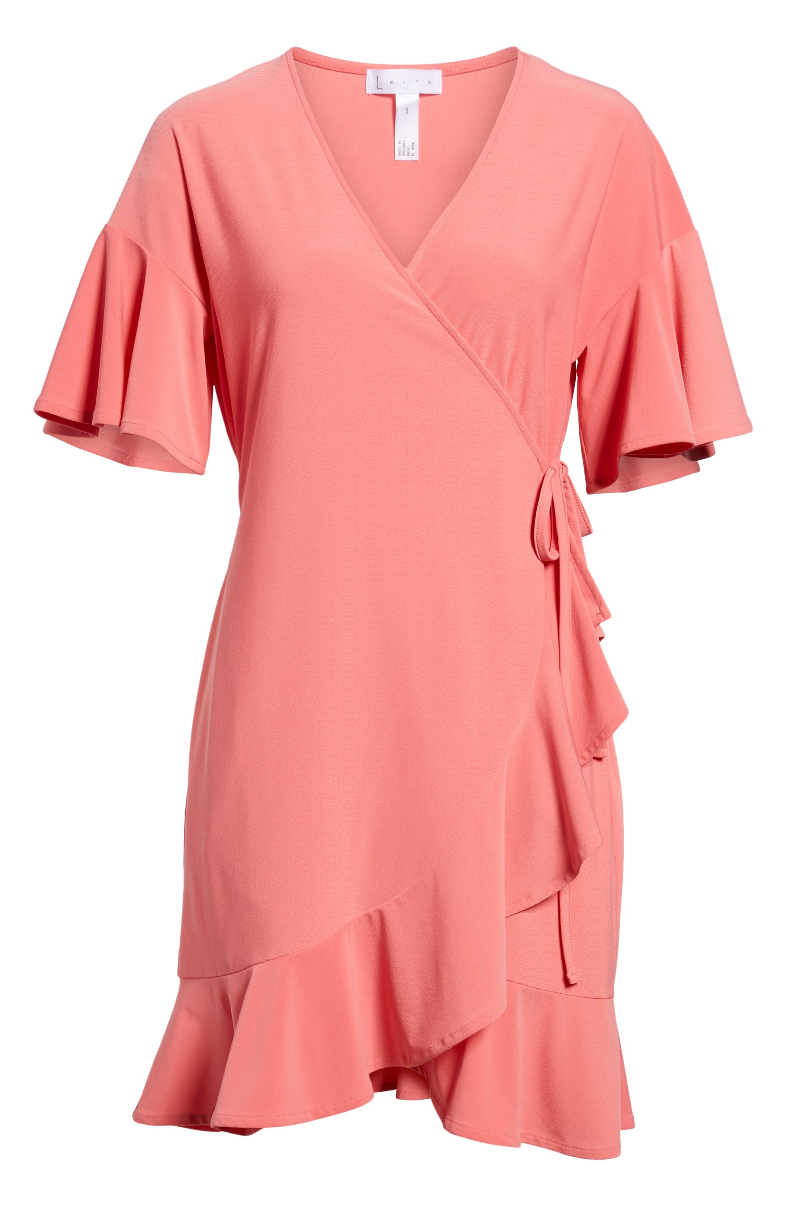 Flounce Sleeve Wrap Dress,                             Alternate thumbnail 6, color,                             Coral Rose Tea