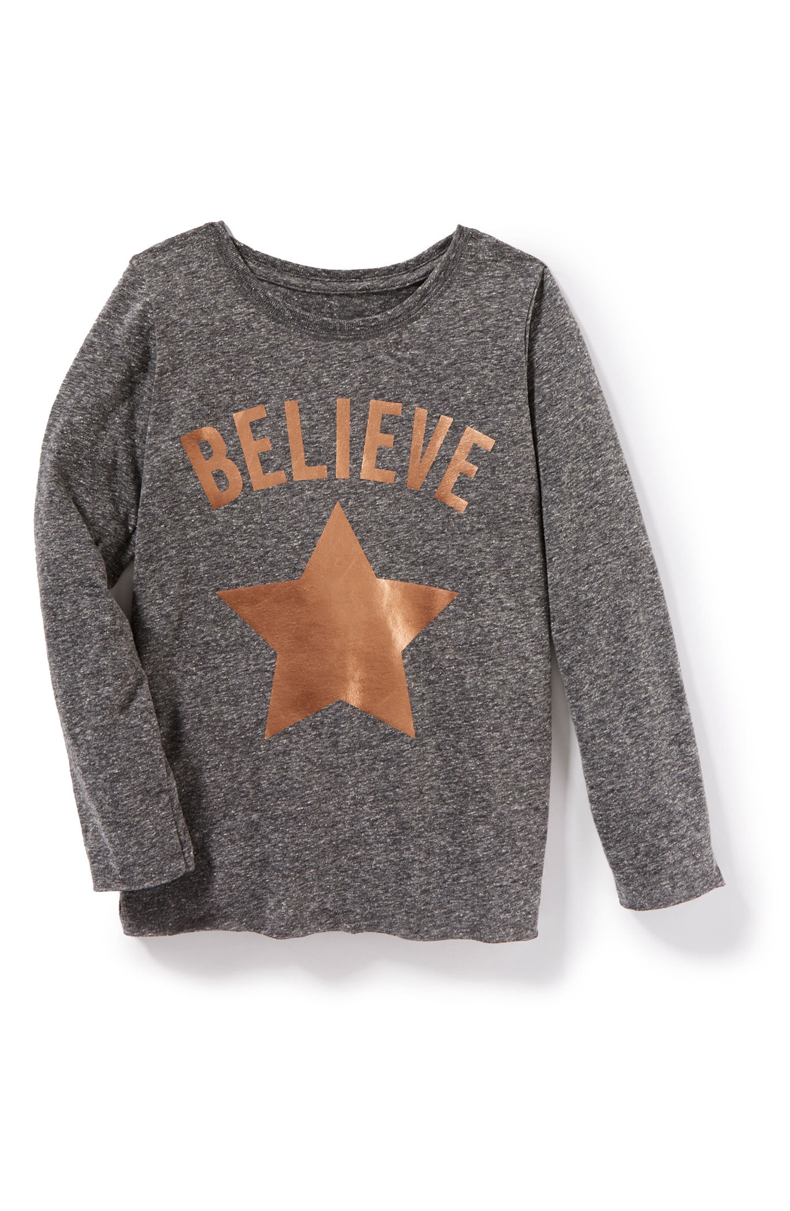 Believe Graphic Tee,                         Main,                         color, Grey Heather