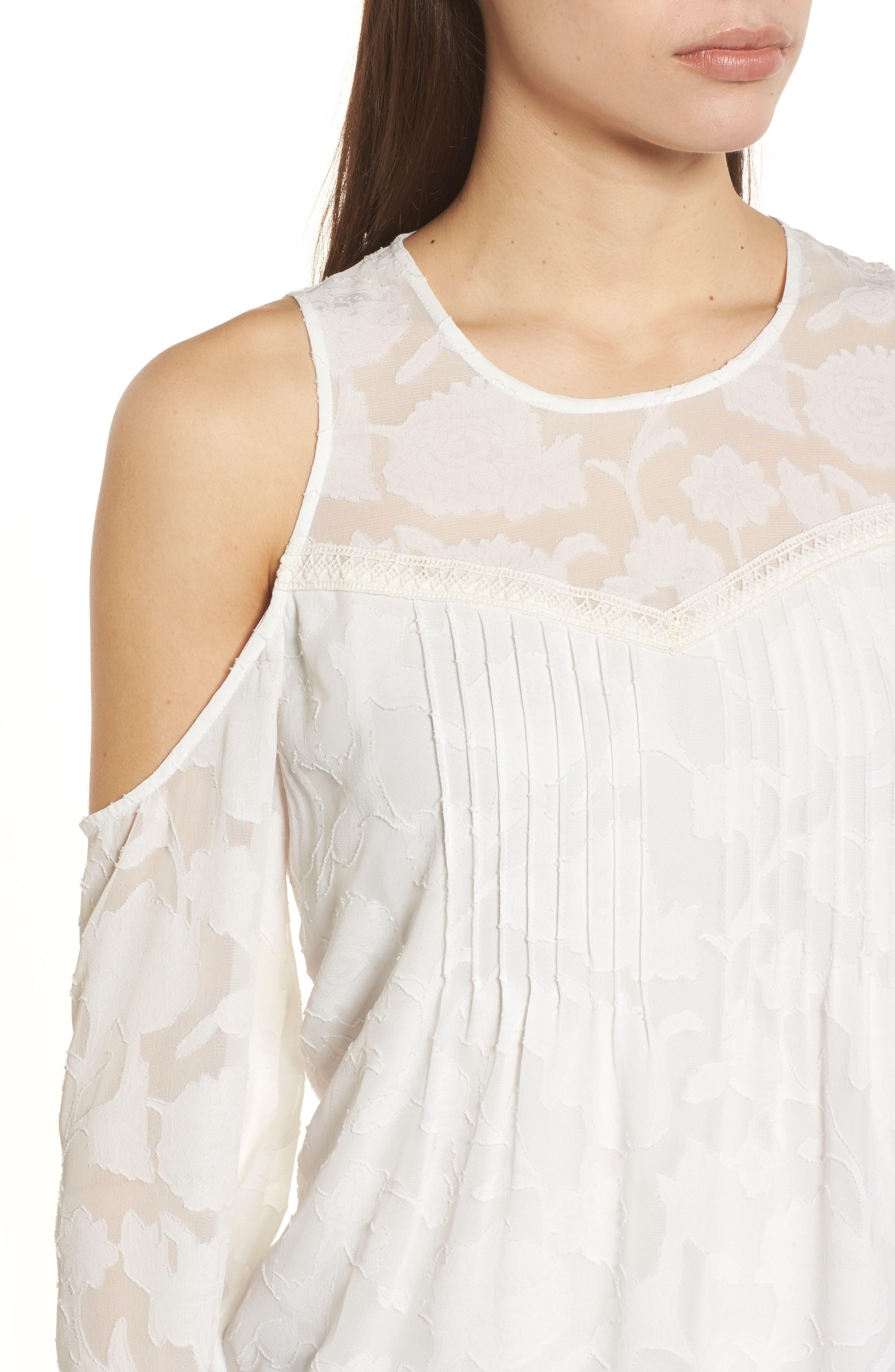 Cold Shoulder Jacquard Shirt,                             Alternate thumbnail 4, color,                             Lucky White