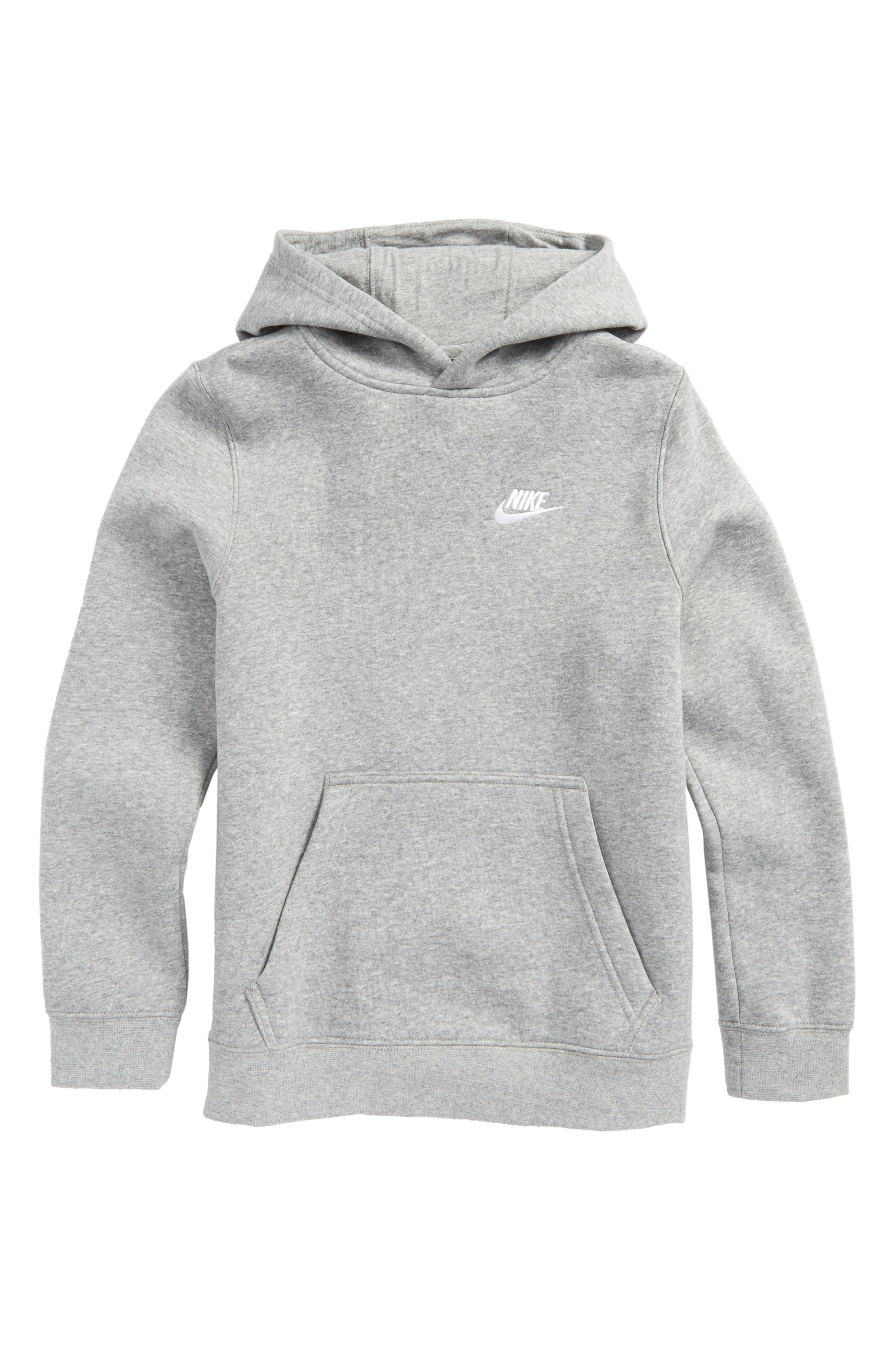 Sportswear Hoodie,                         Main,                         color, Dark Grey Heather/ White