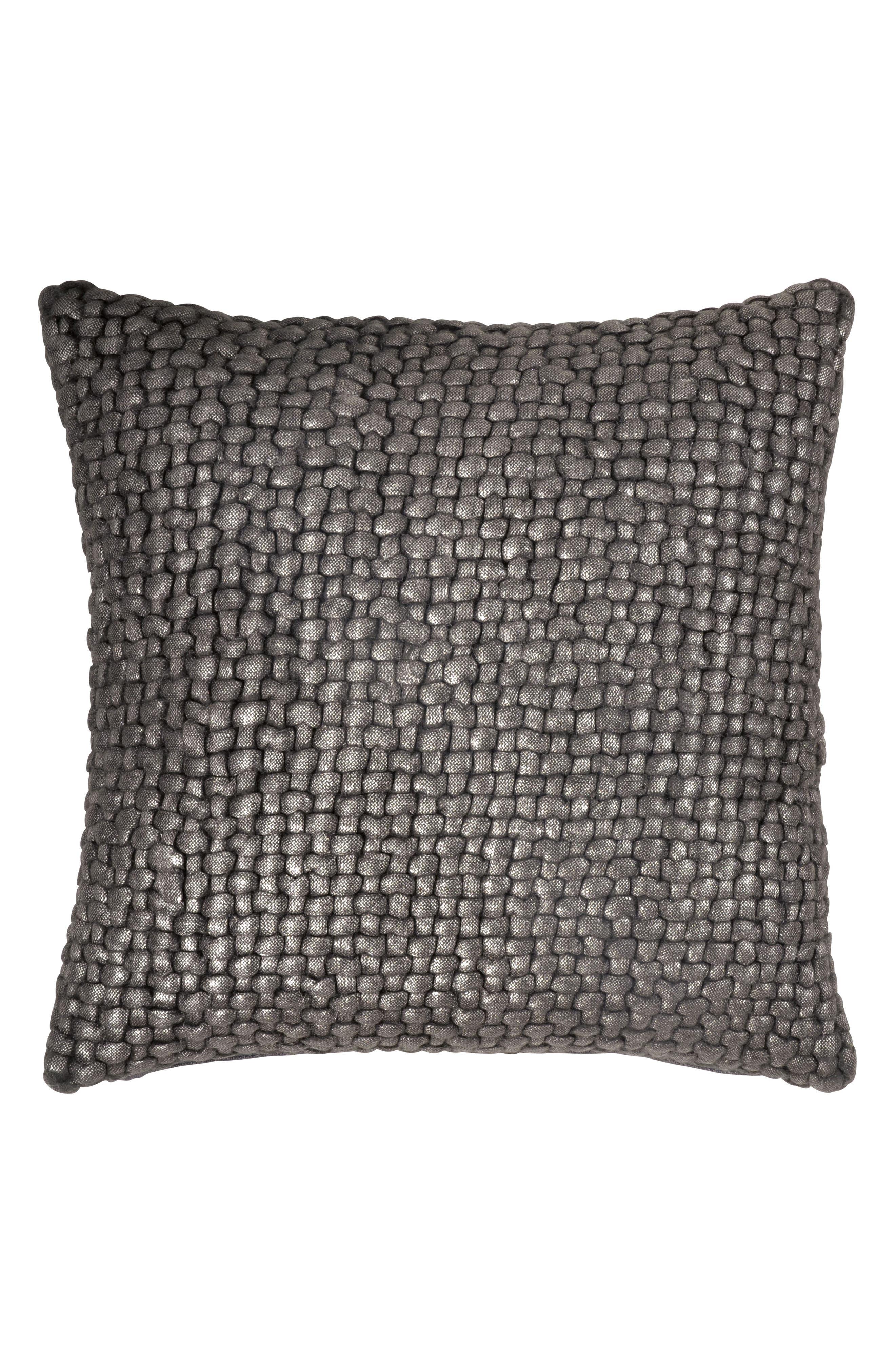 Metallic Basket Weave Accent Pillow,                         Main,                         color, Charcoal